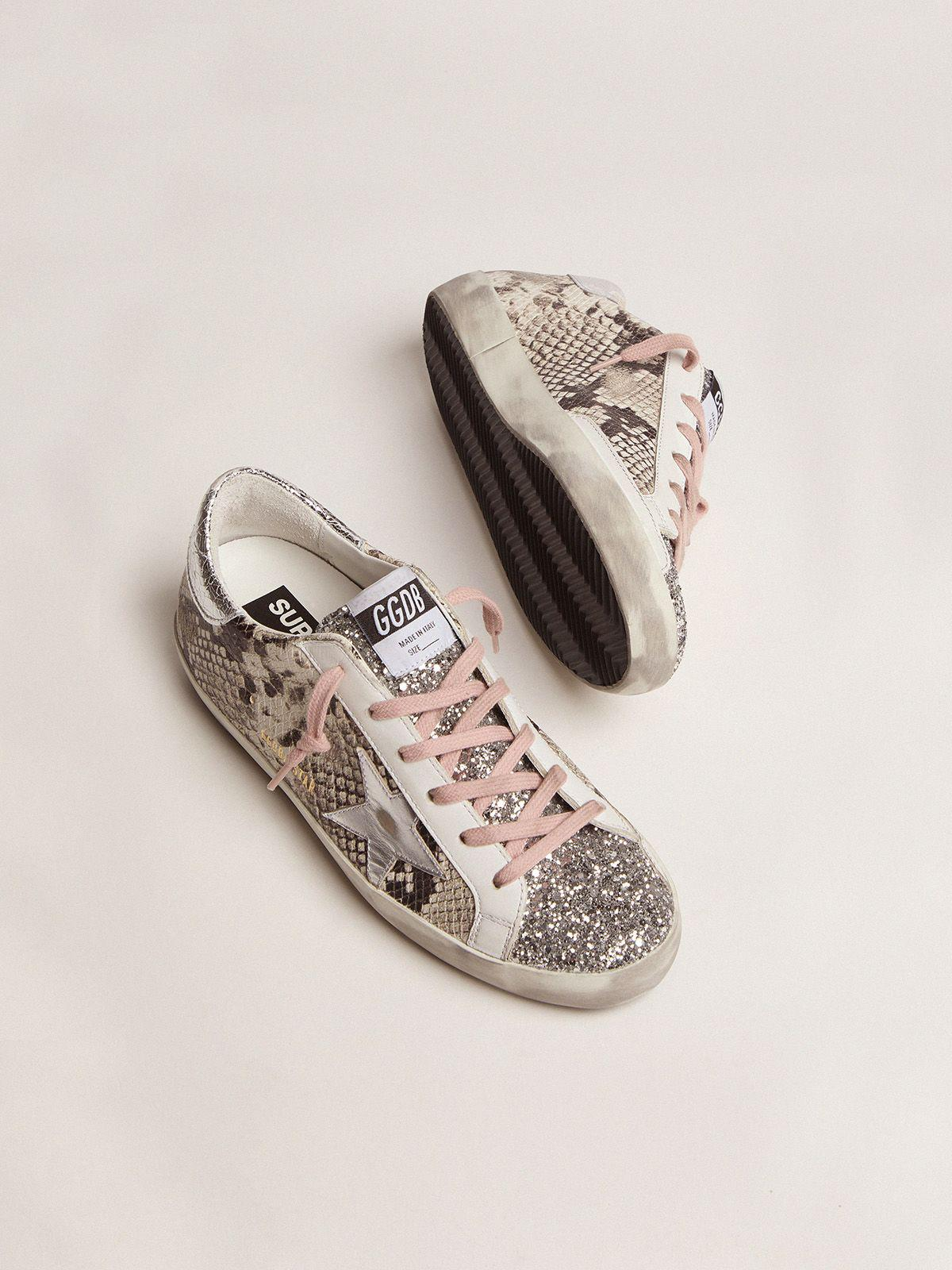 Super-Star LTD sneakers with snake print and glitter 1
