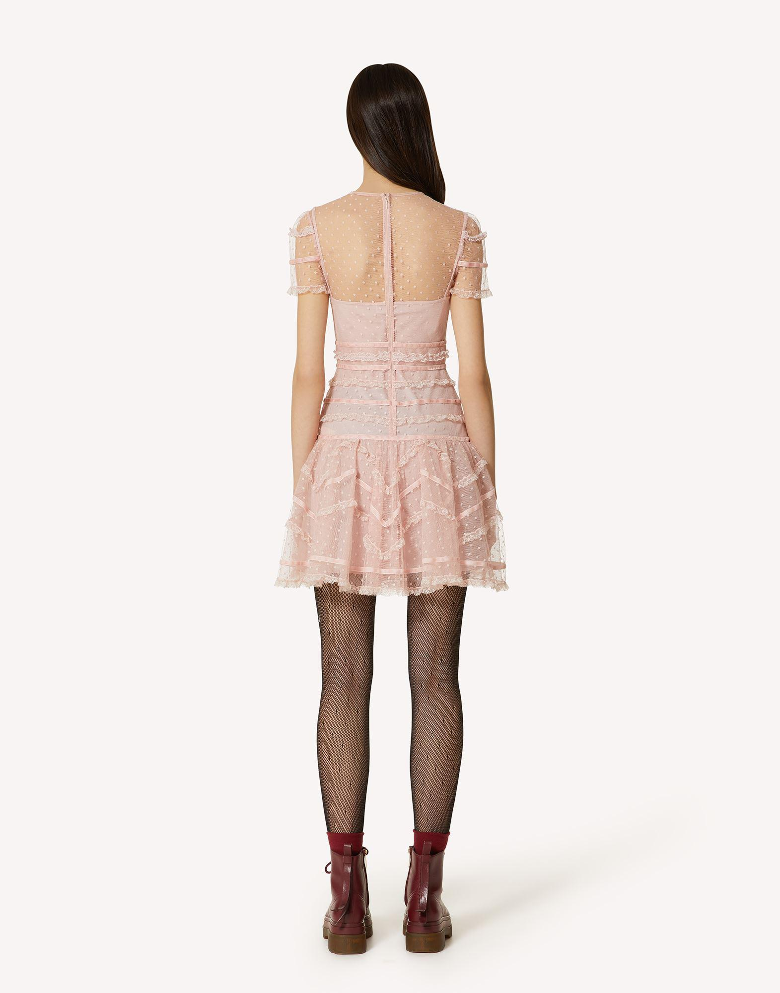 POINT D'ESPRIT TULLE DRESS WITH LACE AND VELVET RIBBONS 1