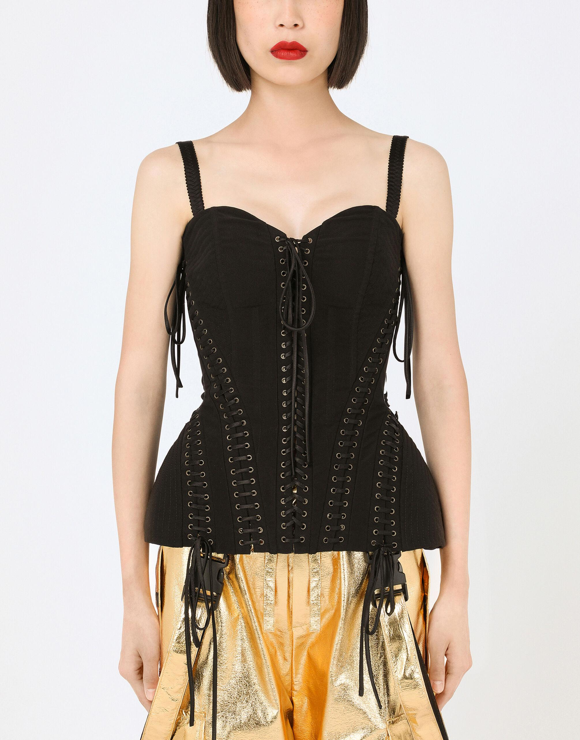 Stretch knit bustier with laces
