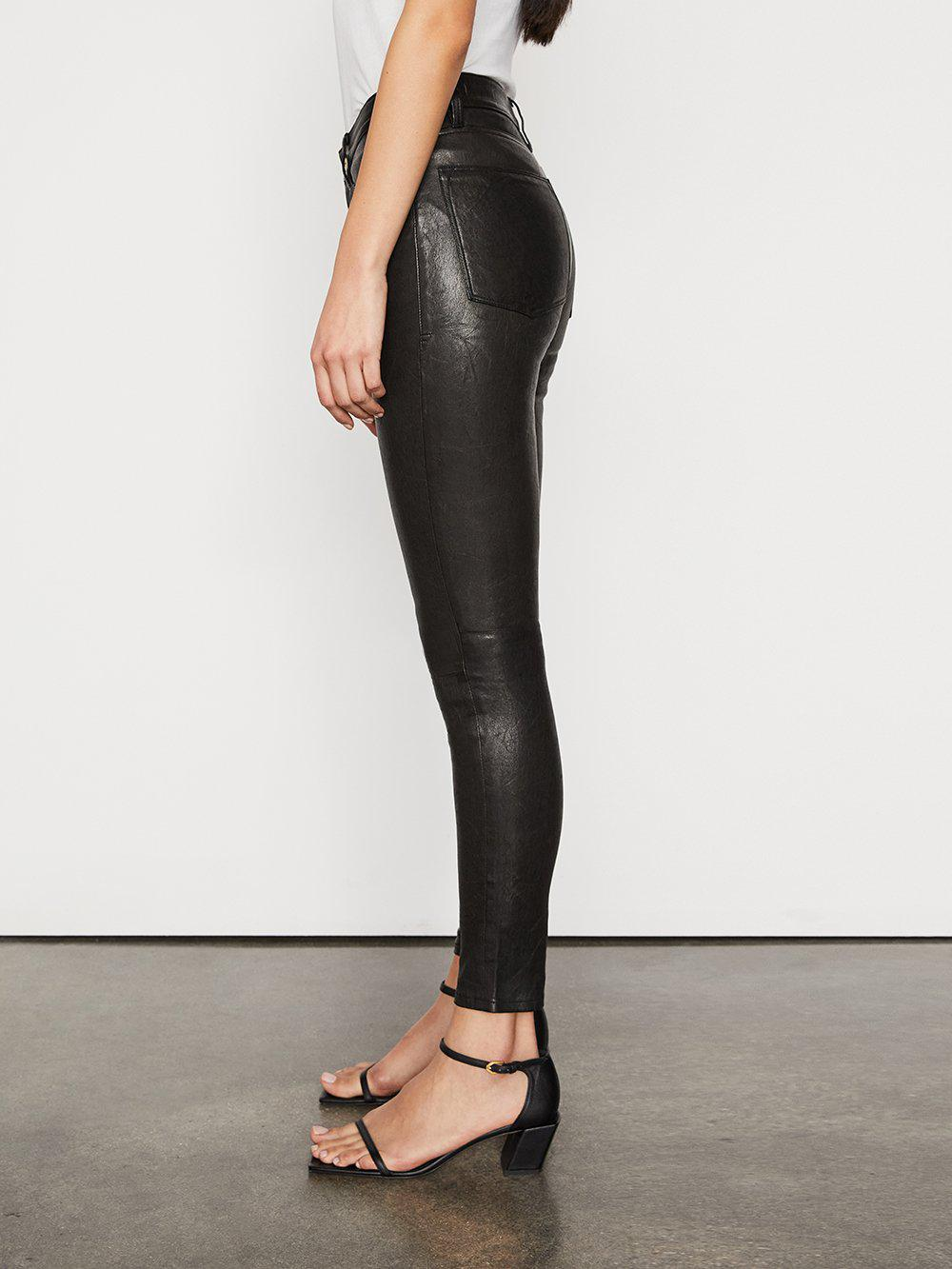 Leather Le High Skinny -- Washed Black 2