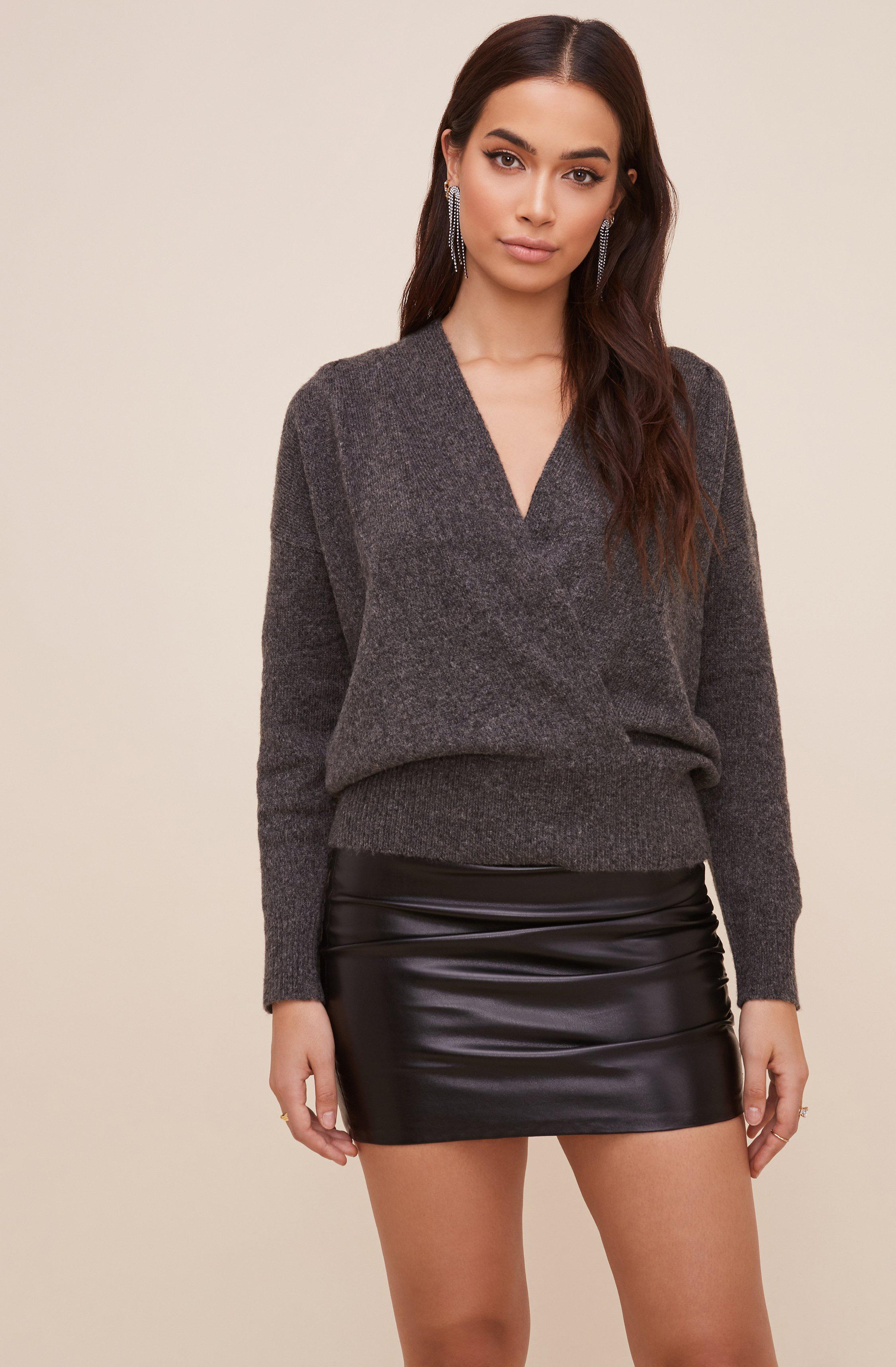 Pleated Wrap Sweater 1