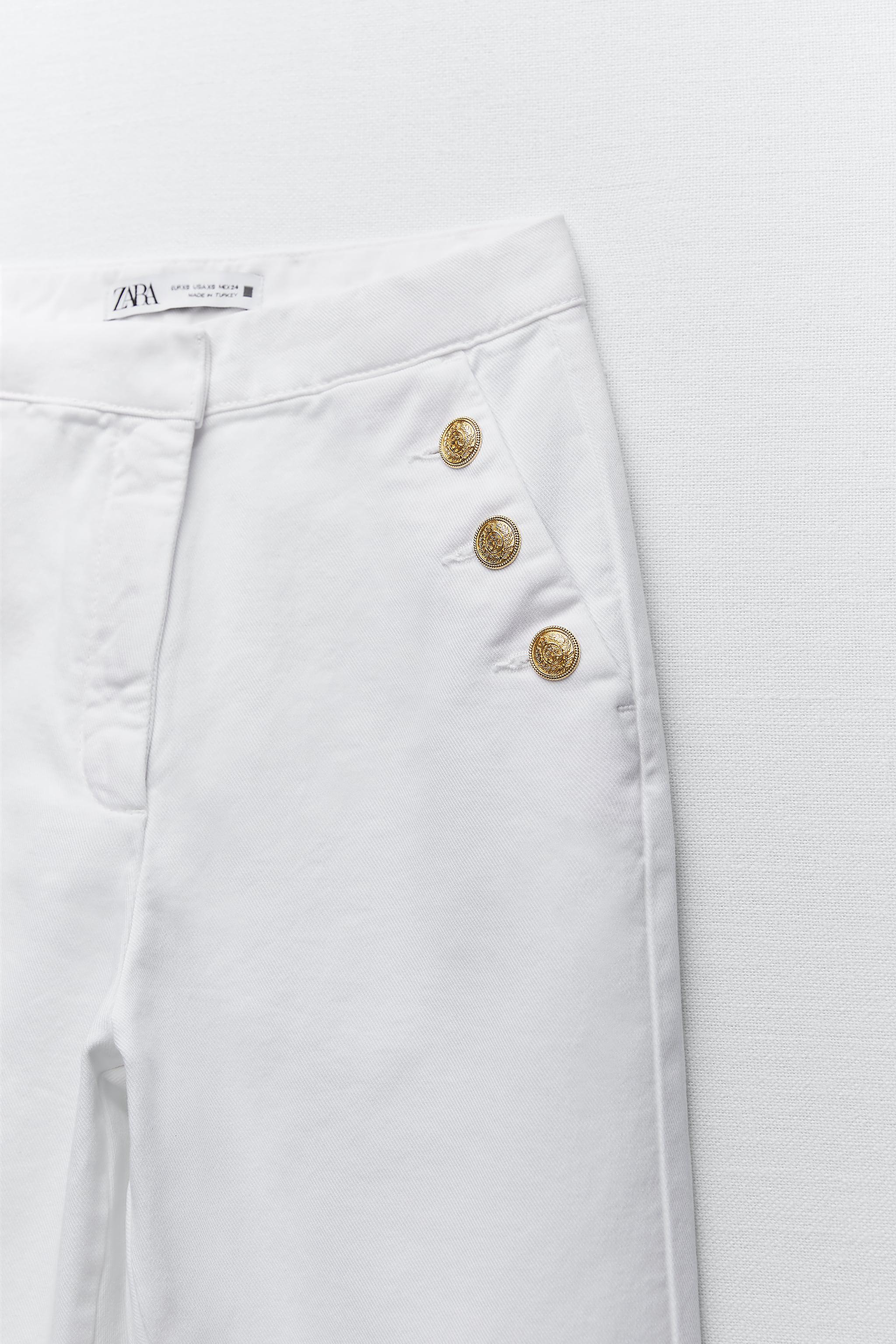 GOLD BUTTONED STRAIGHT LEG PANTS 2