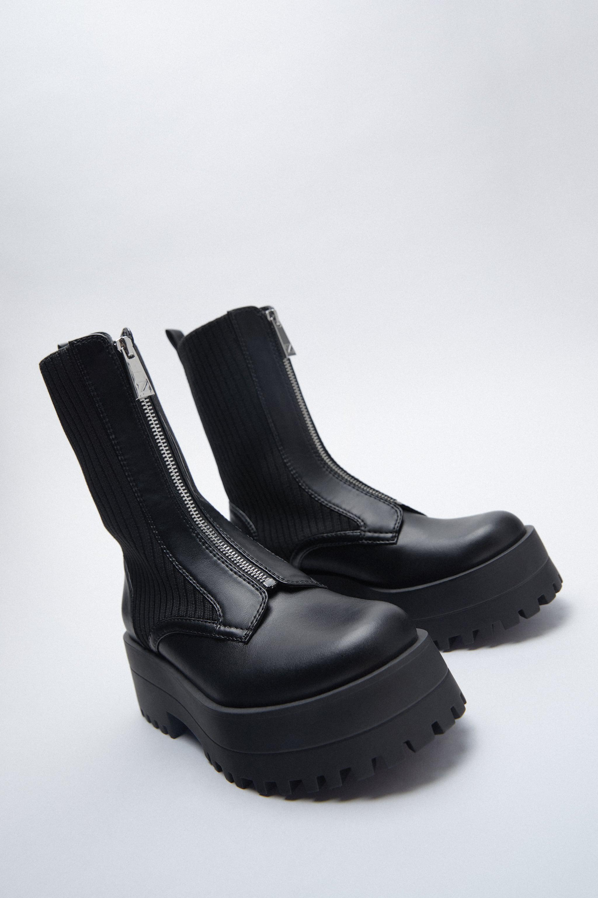 LOW HEELED SOCK-STYLE ZIP ANKLE BOOTS TRF 2