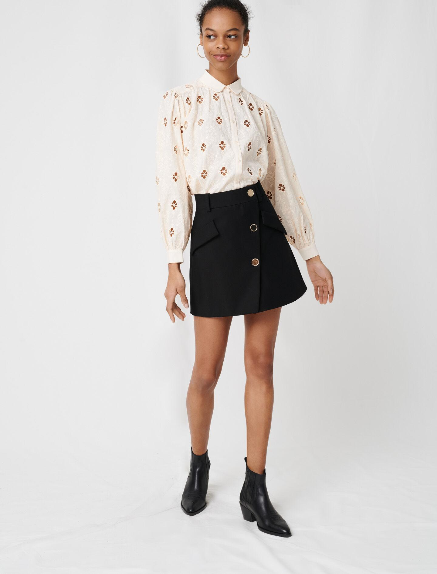 CREPE SKIRT WITH CONTRASTING BUTTONS