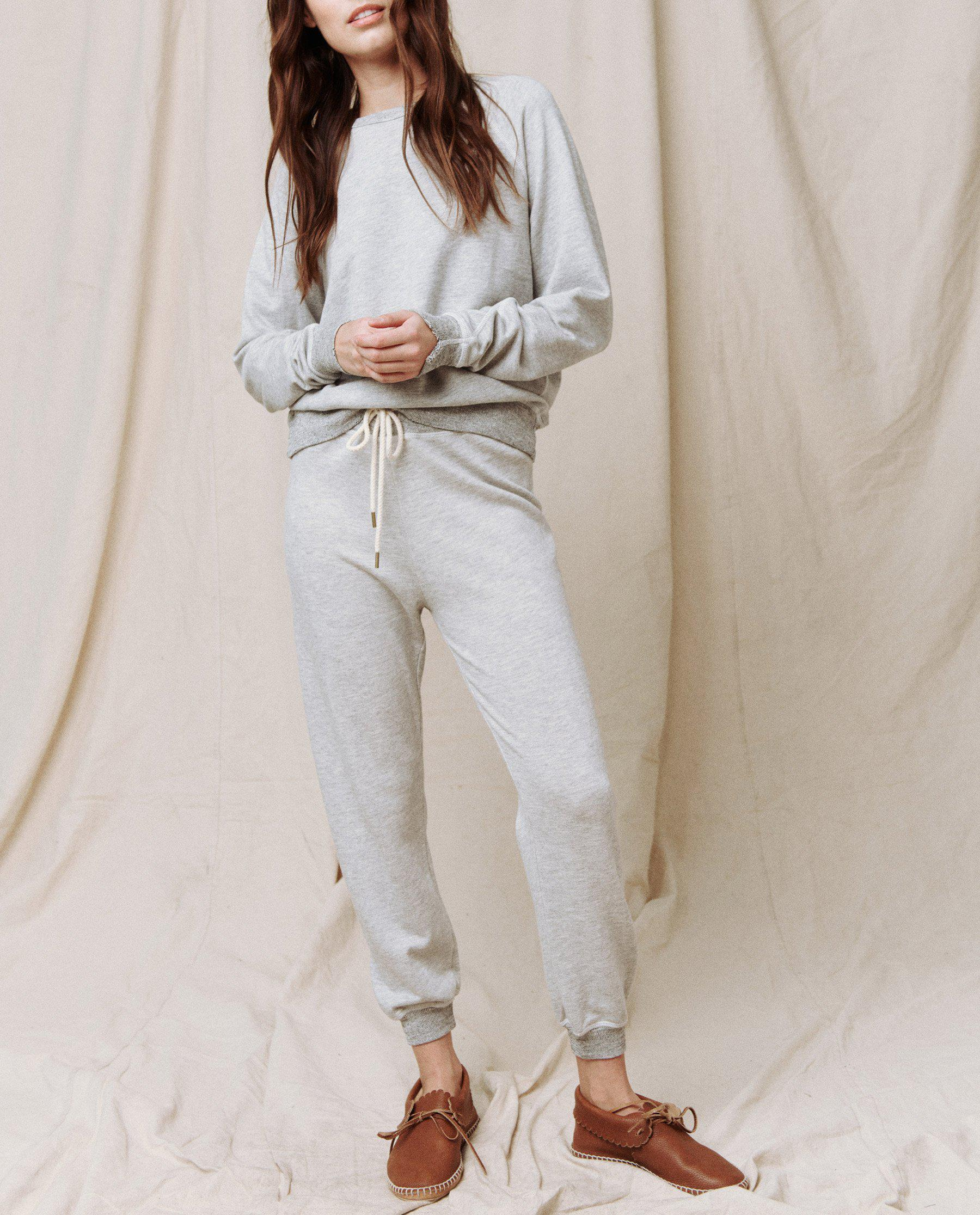 The Cropped Sweatpant. Solid -- Light Heather Grey 1
