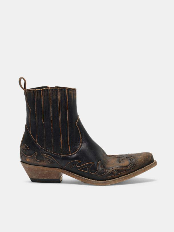 Black aged-leather Santiago ankle boots
