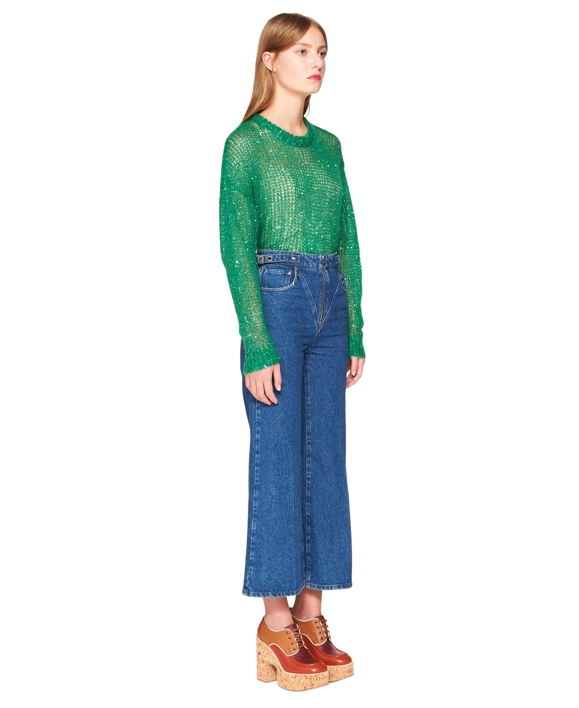 Sequined Mohair Pullover Women Lawn Green 2