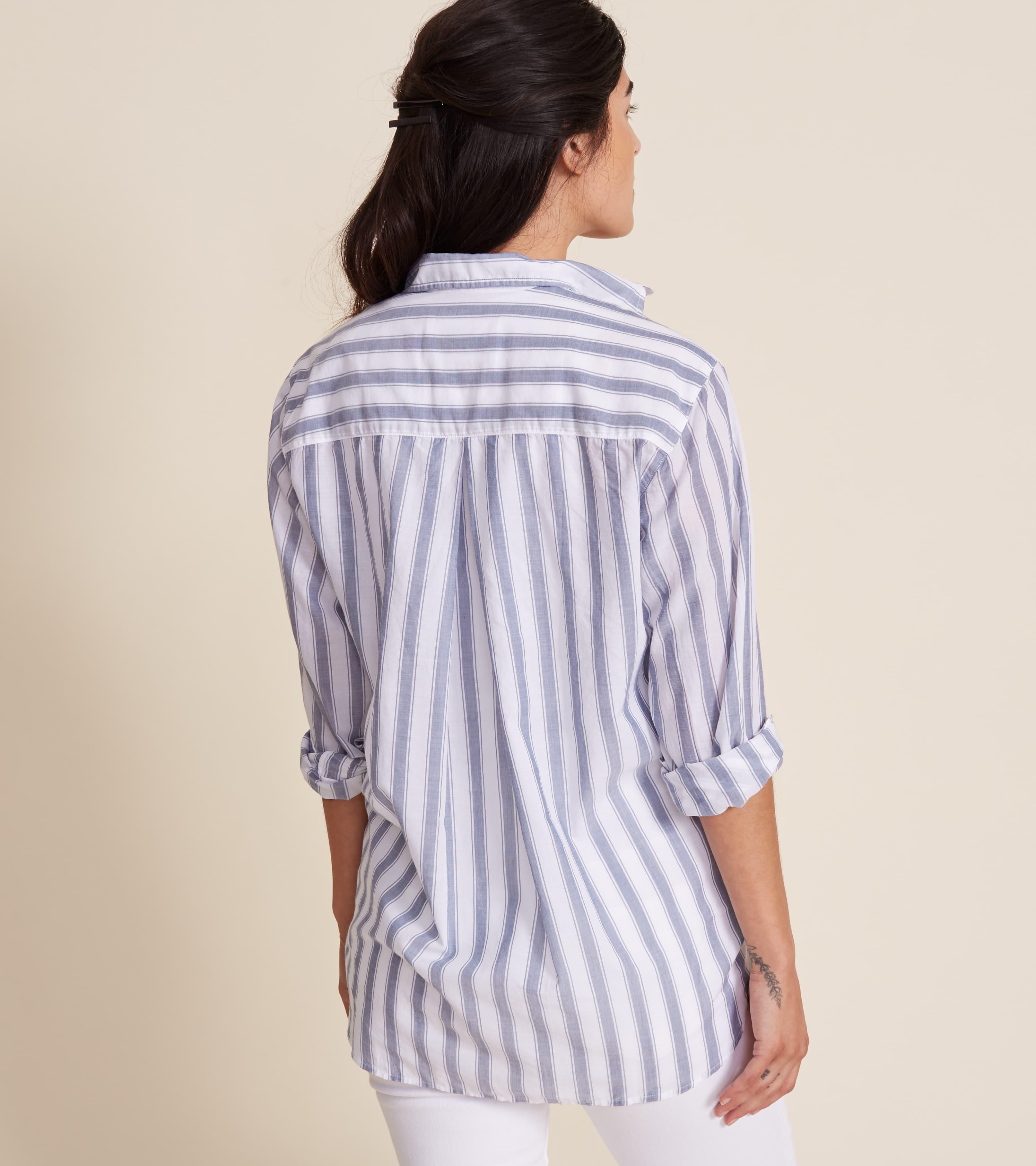 The Hero White with Thick Blue Stripe, Tissue Cotton Final Sale 1