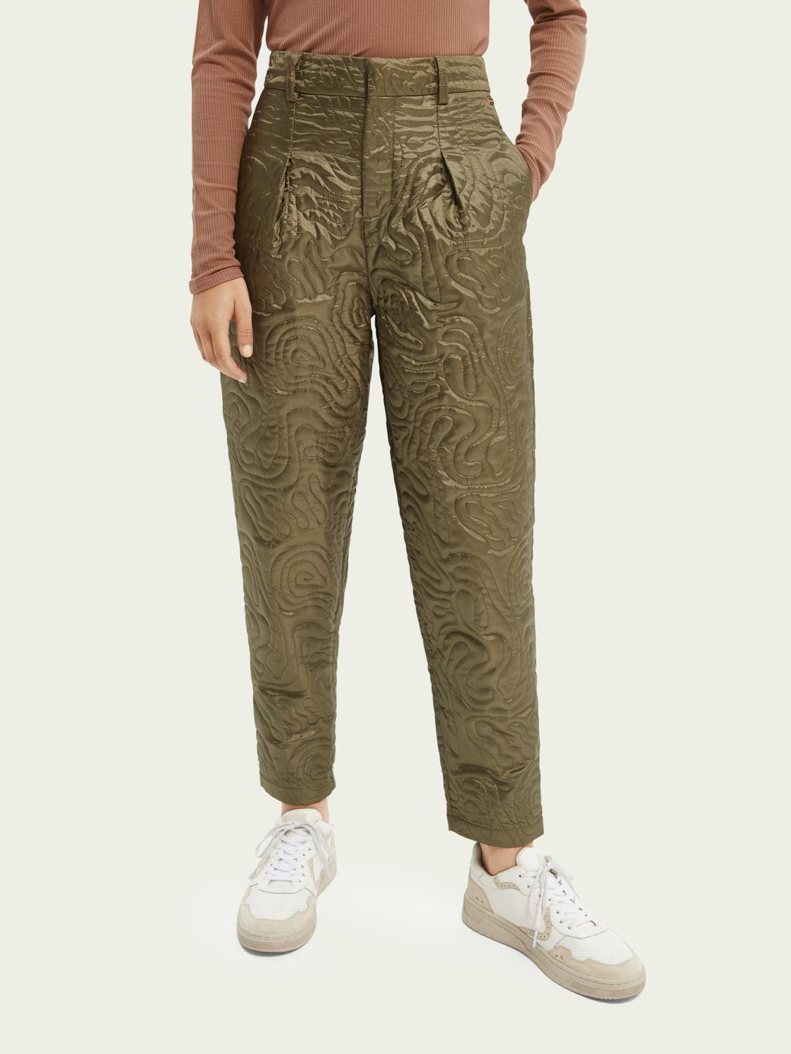 Quilted tapered-leg mid-rise trousers