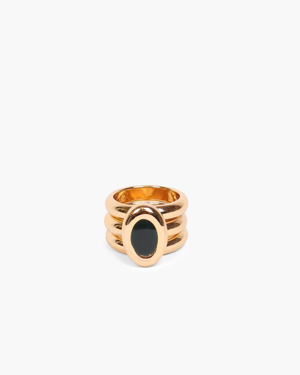 Oval Triple Ring Gold Plated with Dark Emerald Enamel