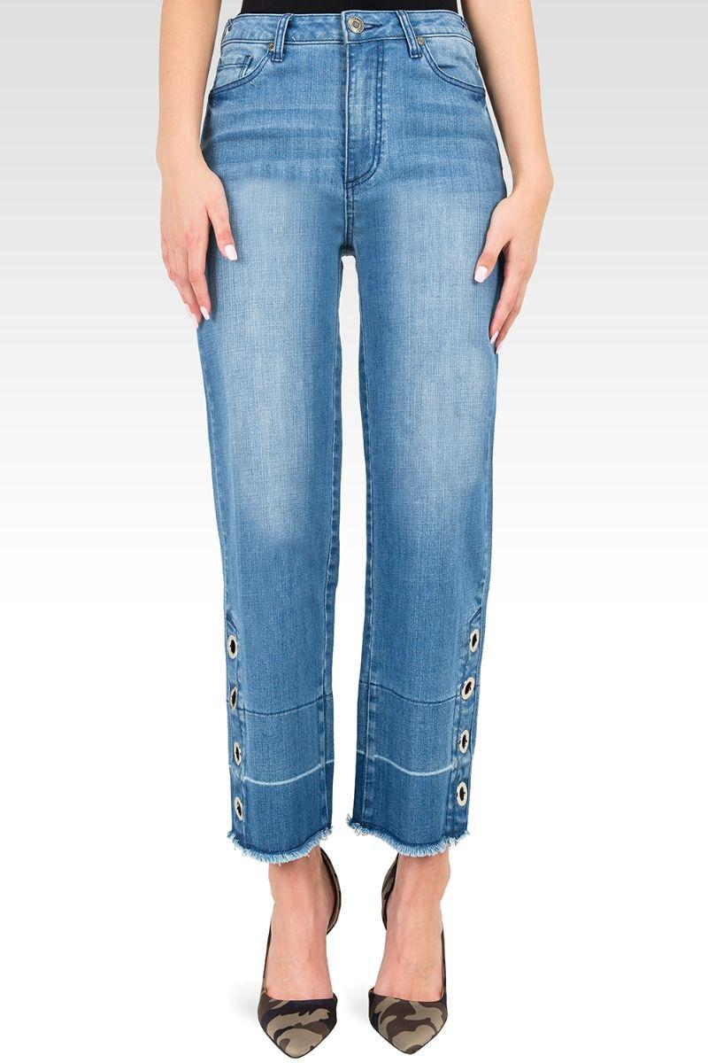 Meryl High-Rise Light Wash Cropped Jeans with Silver Grommets & Wide Released Hem