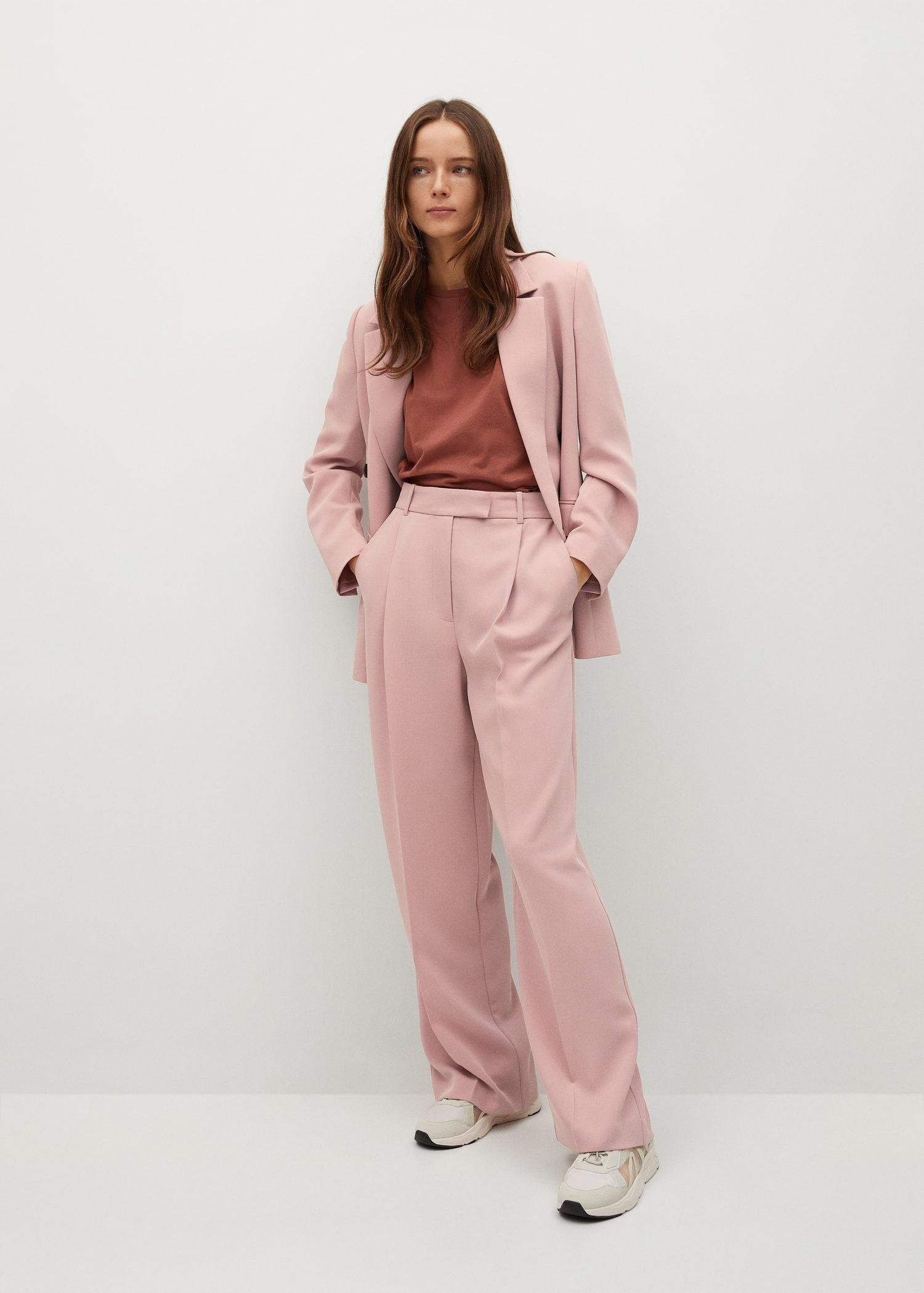 Pleat straight trousers 1