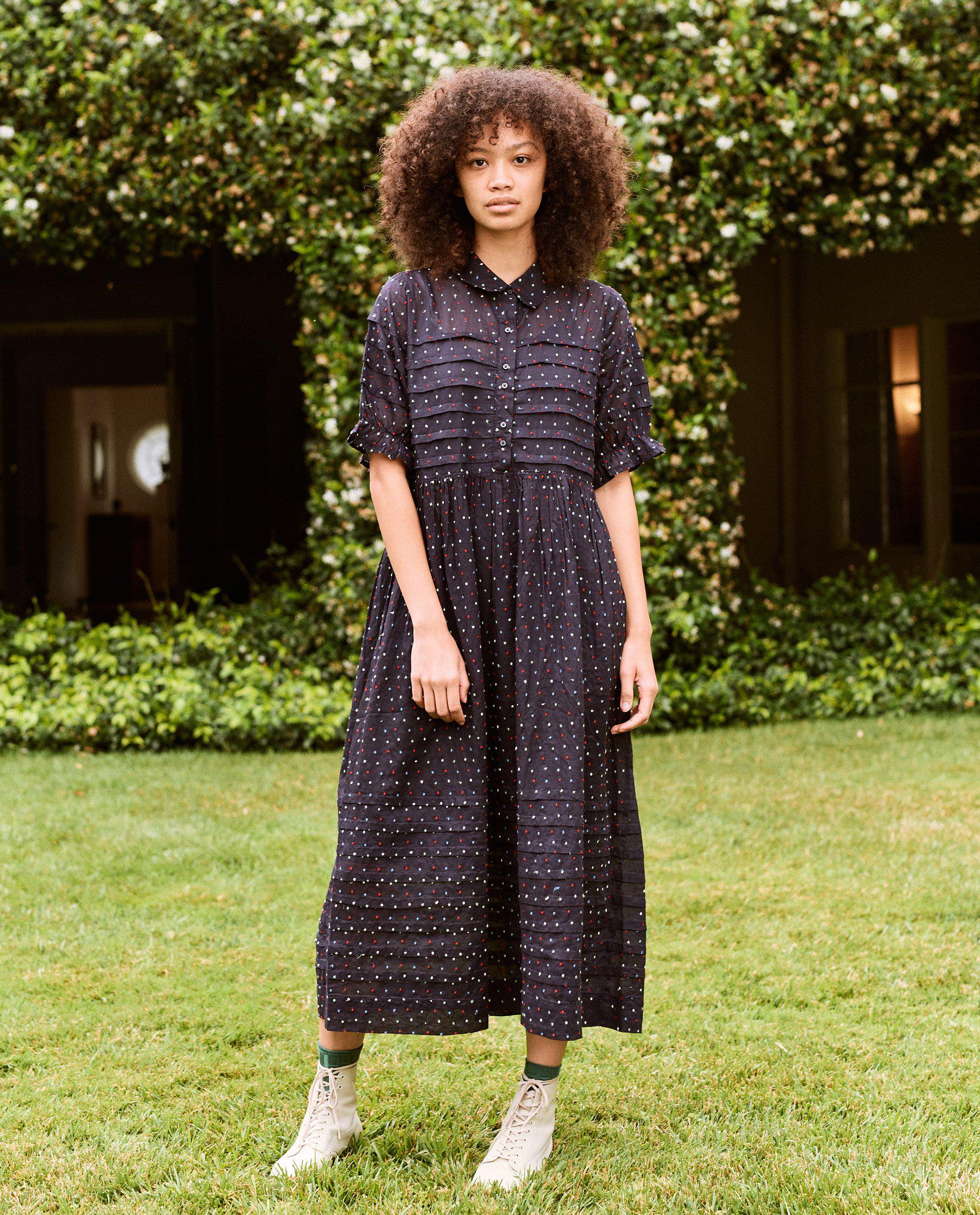 The Embroidered Dot Terrace Dress. -- Navy