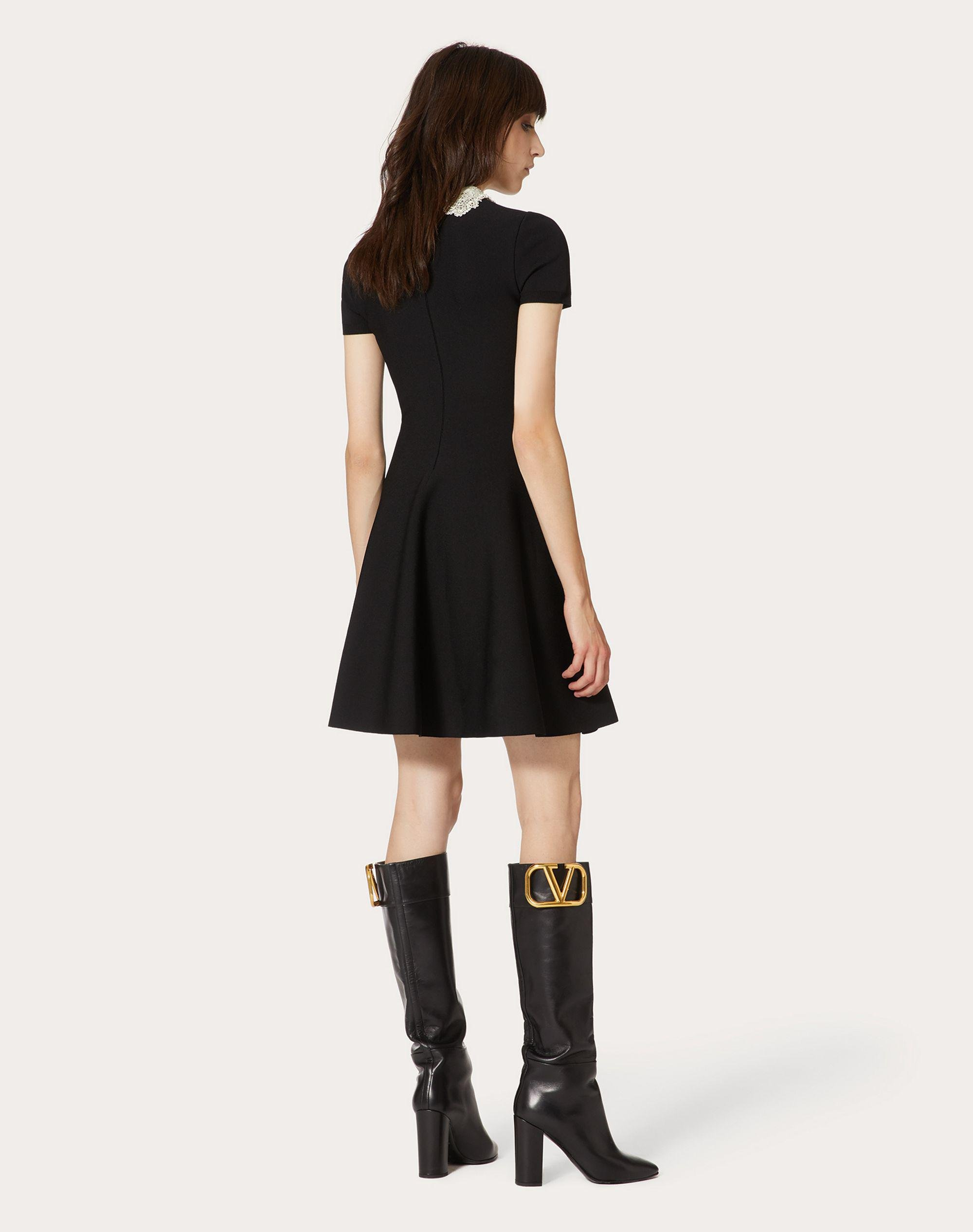 Embroidered Stretch Viscose Knitted Dress 2