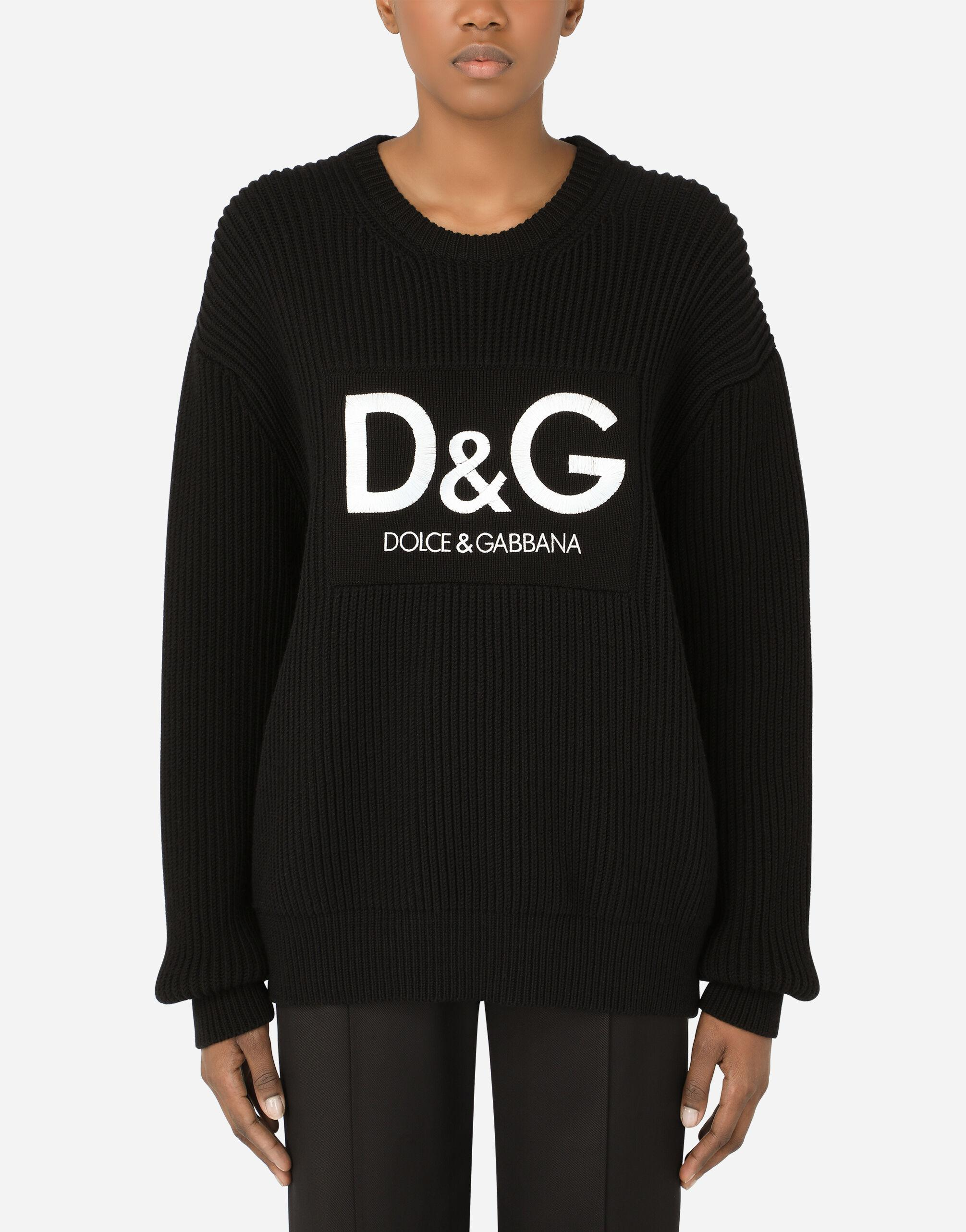 Wool fisherman's rib sweater with D&G embroidery
