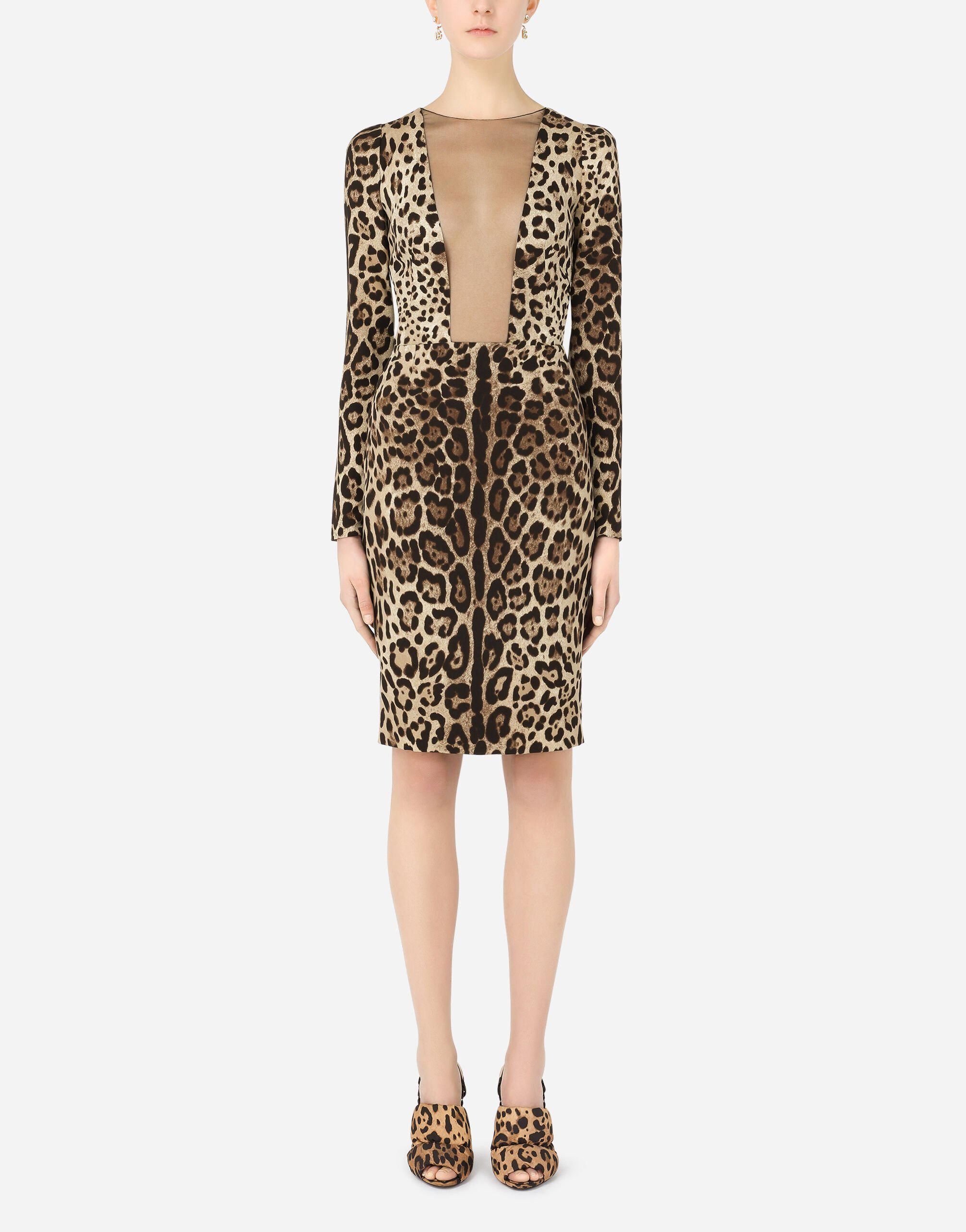 Leopard-print charmeuse and tulle dress