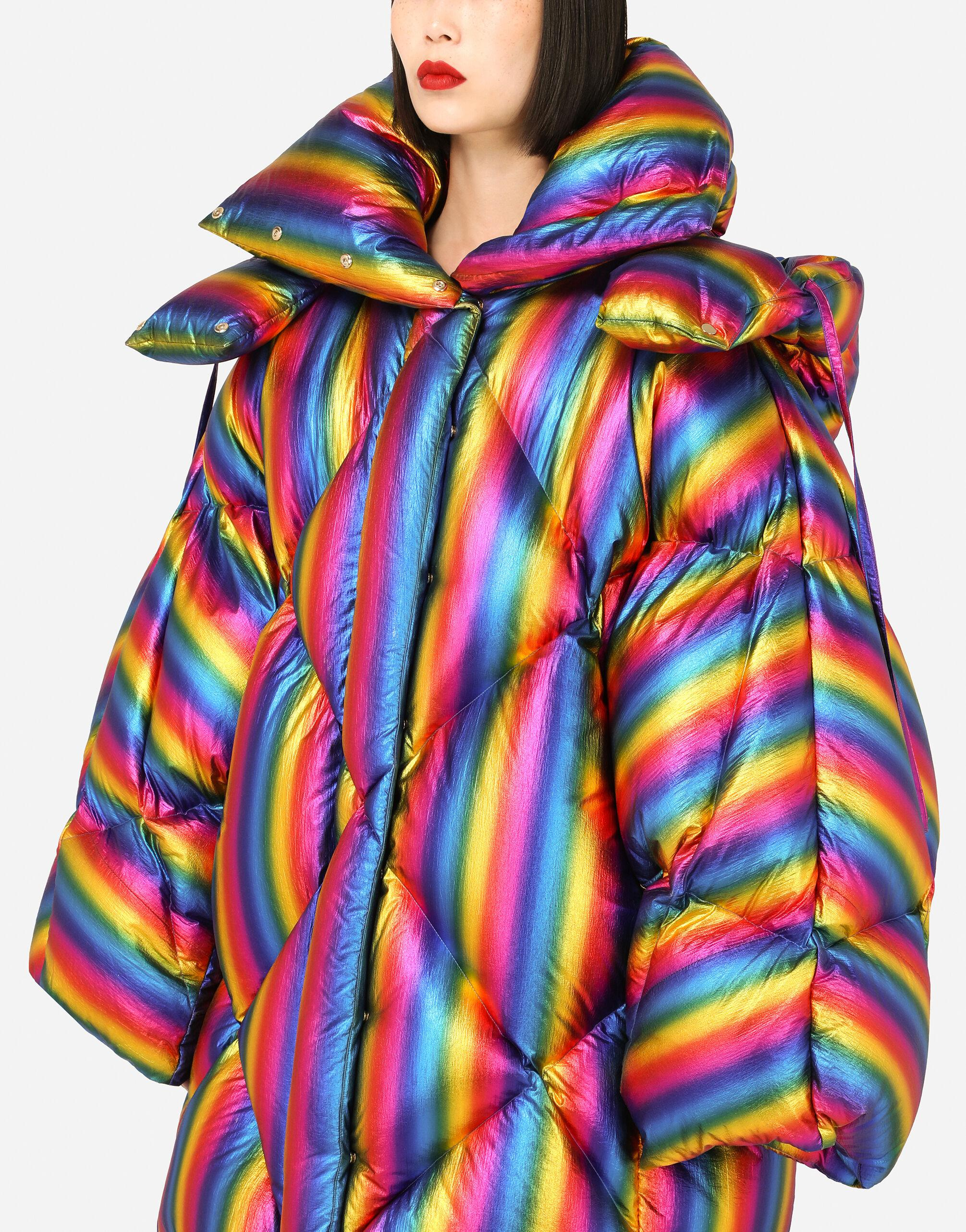 Foiled nylon down jacket with multi-colored stripes 2