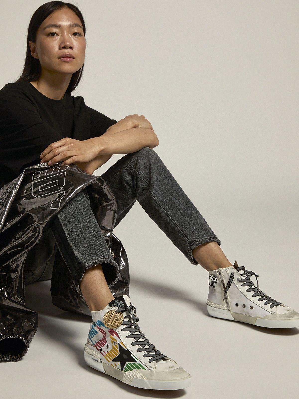 Francy Game EDT Capsule Collection sneakers with white canvas upper and multicolored screen print 4