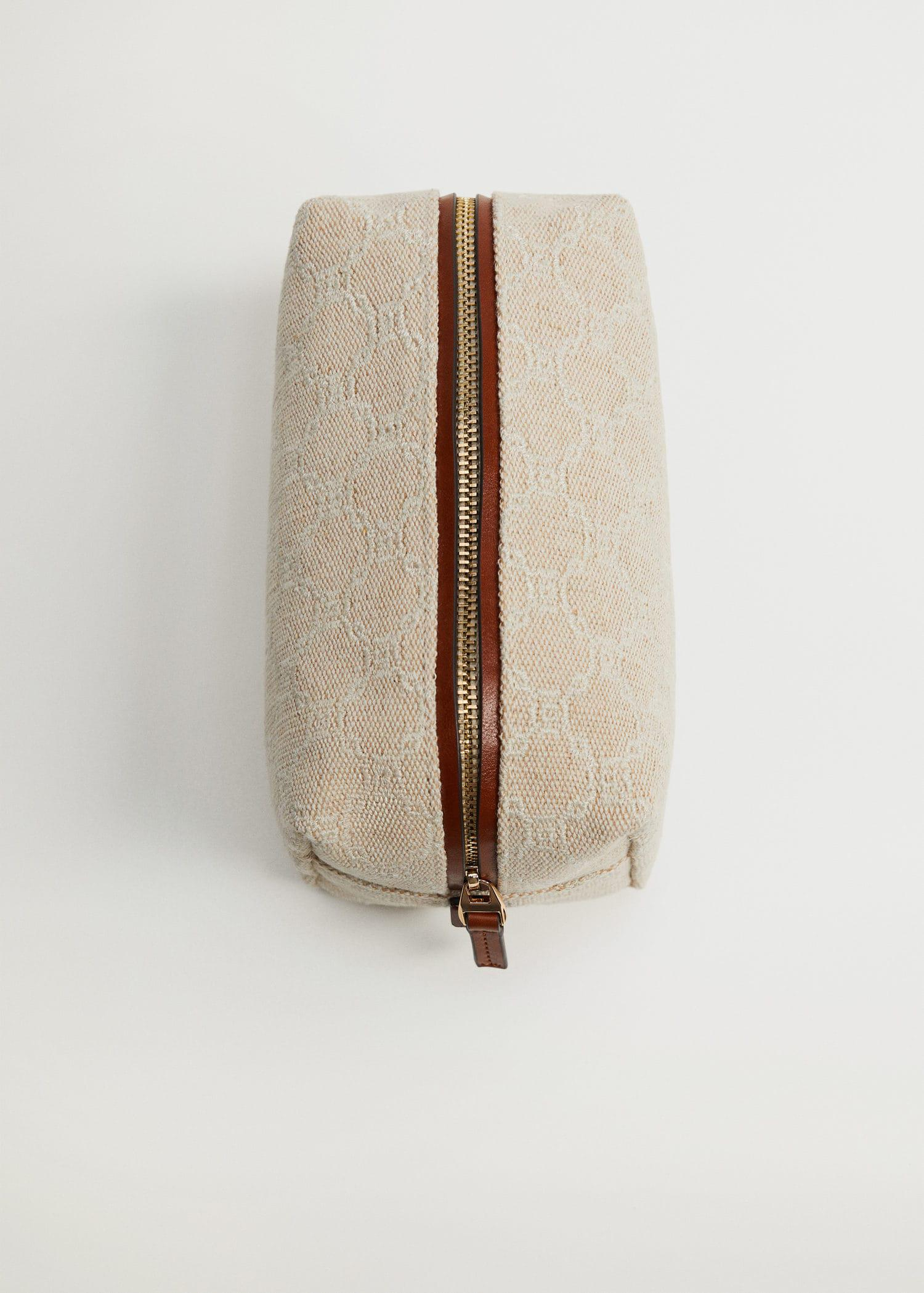 Embroidered jute cosmetic bag 1