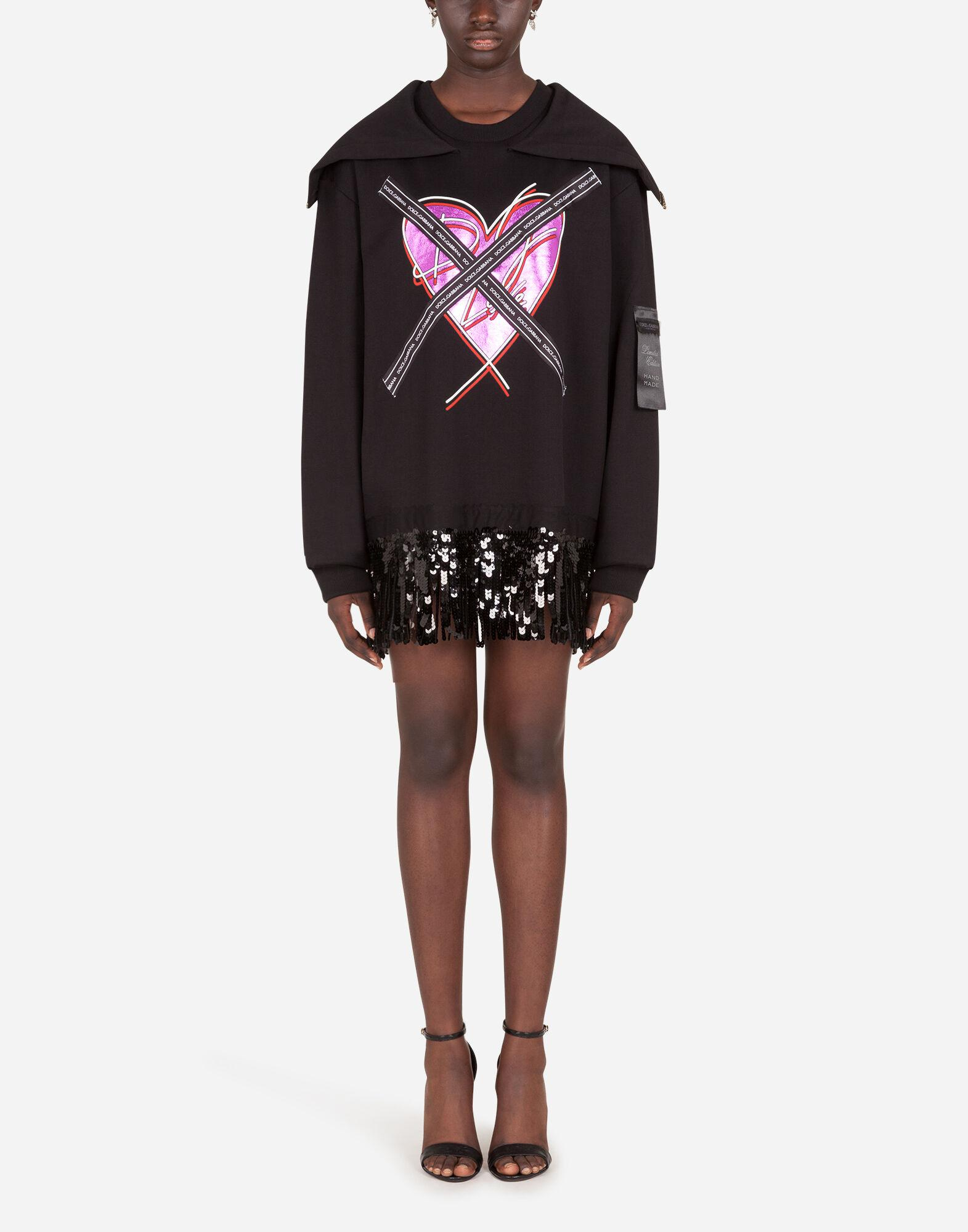 Jersey sweatshirt with heart print and ribbon details 2