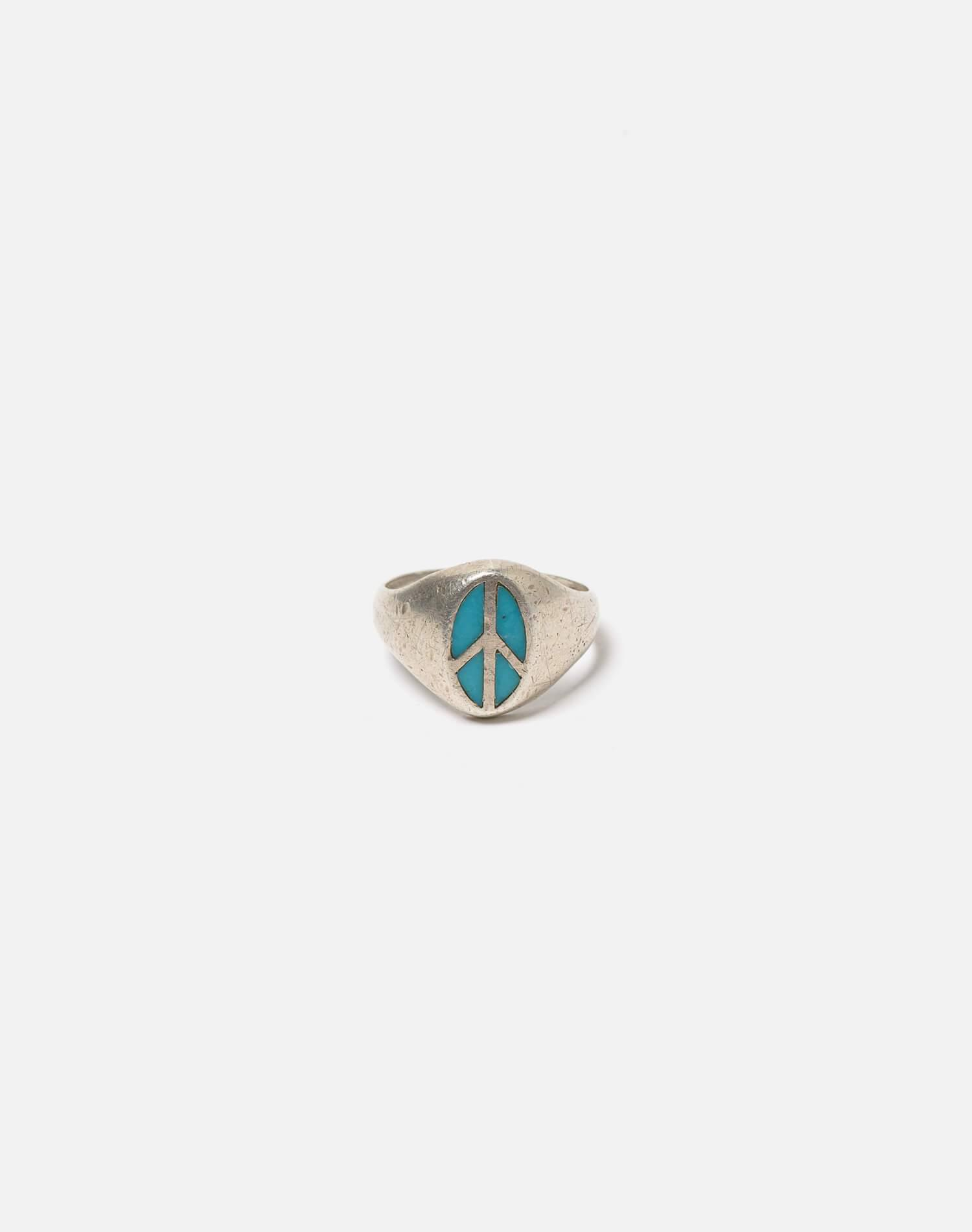 1960s Mexican Sterling Inlaid Turquoise Peace Sign Ring - #101 0