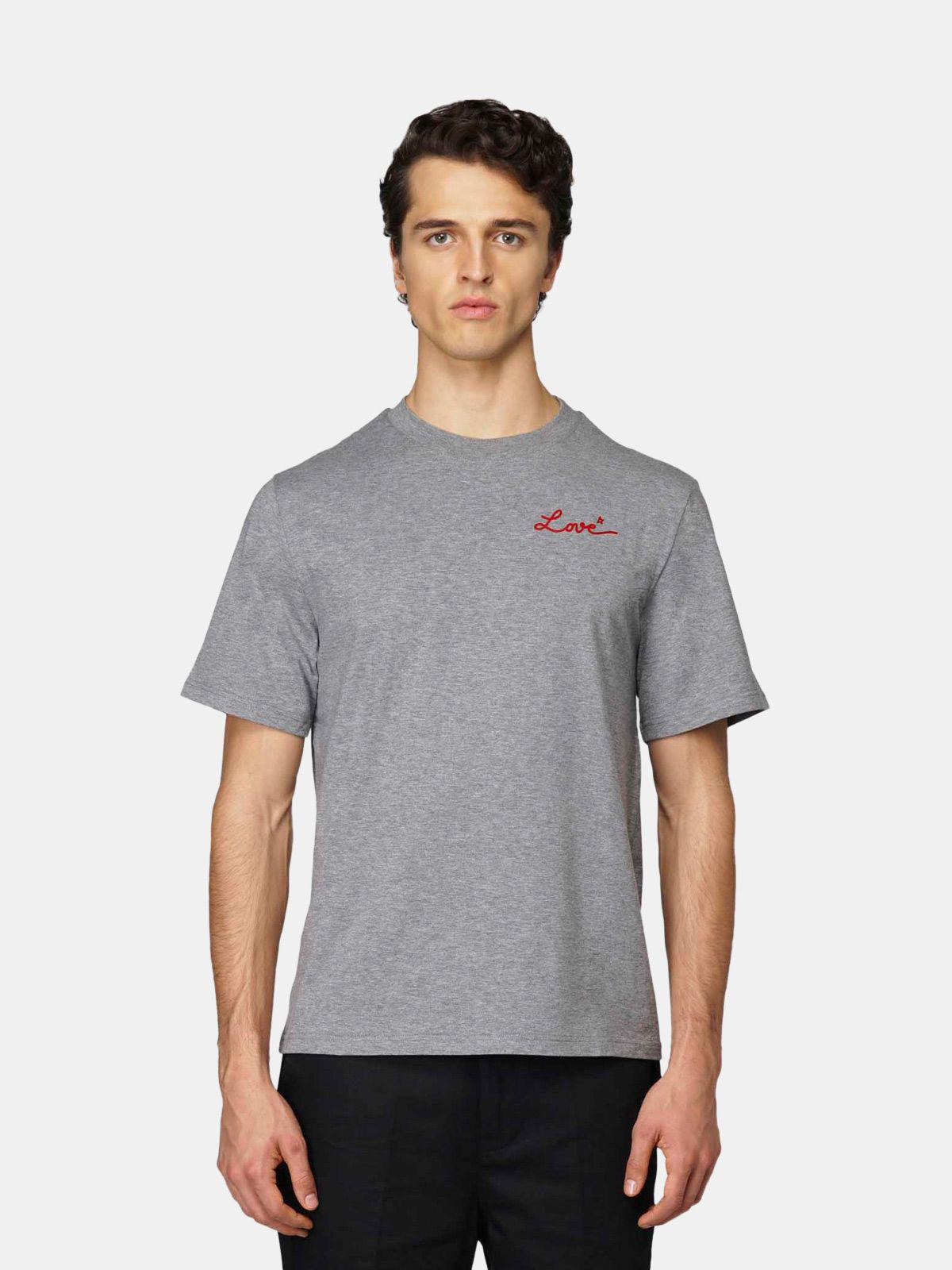Grey Golden T-shirt with Love embroidery 1