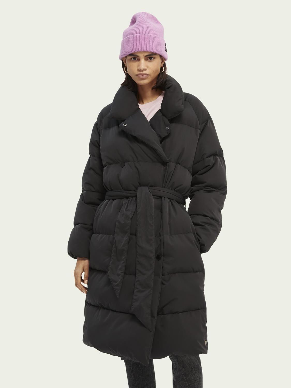 Quilted belted double-breasted coat