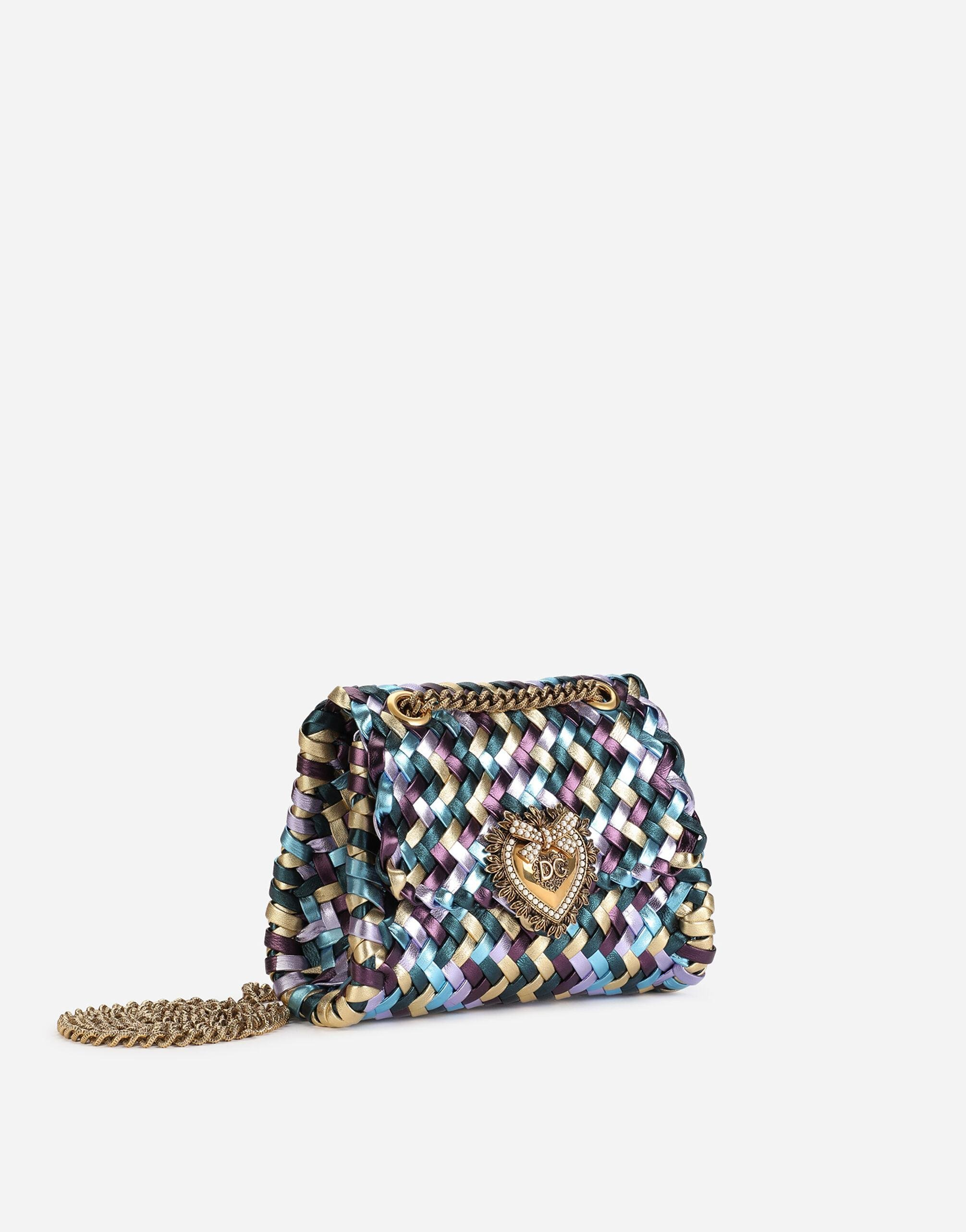 Small Devotion shoulder bag in woven laminated nappa leather 1