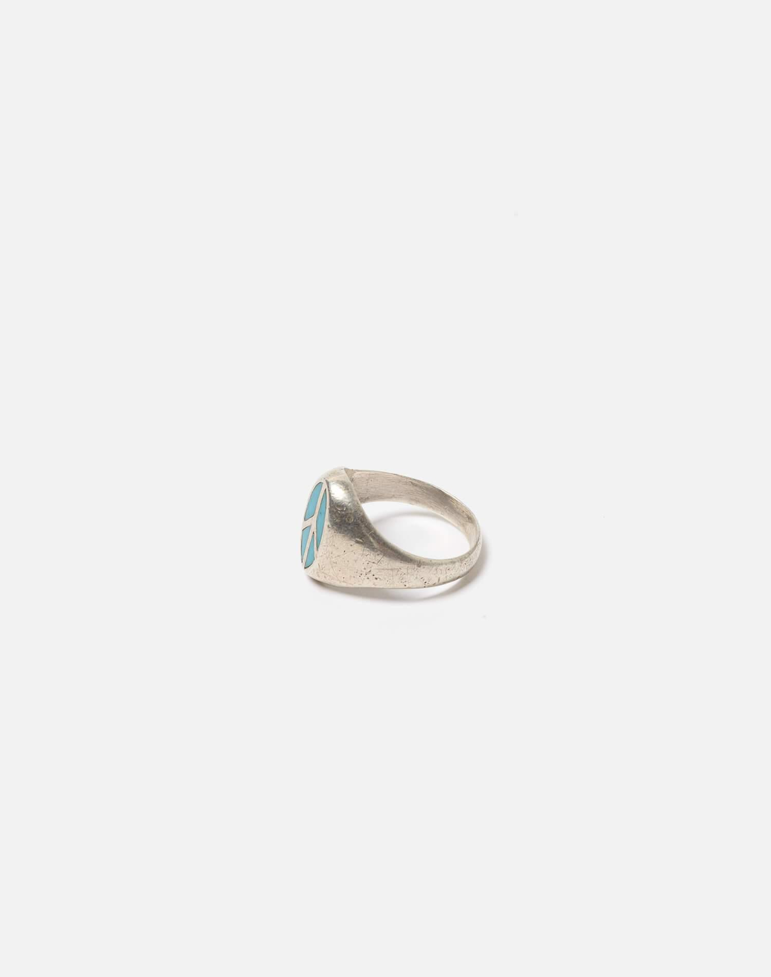 1960s Mexican Sterling Inlaid Turquoise Peace Sign Ring - #101 1