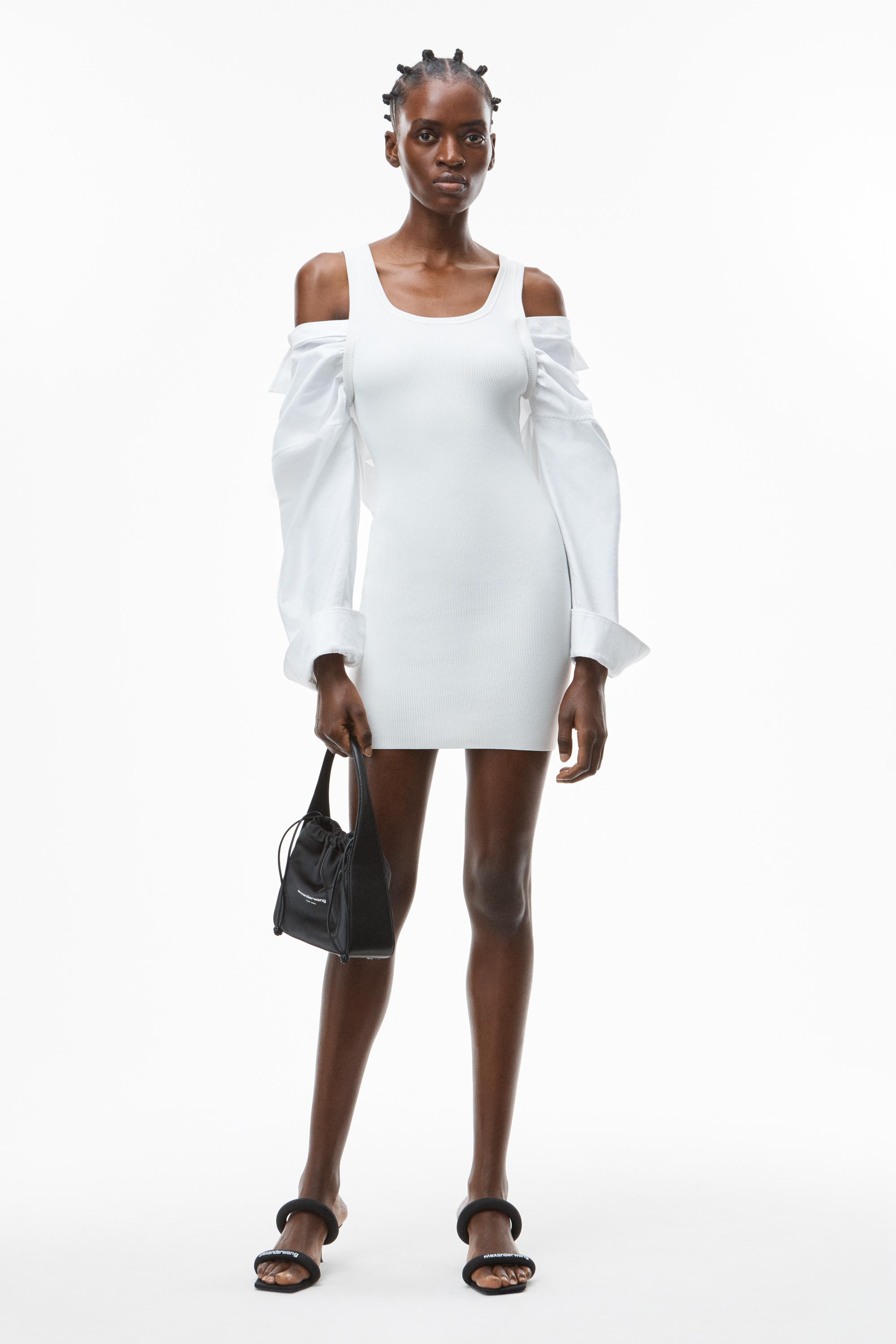 hybrid dress in cotton rib and oxford