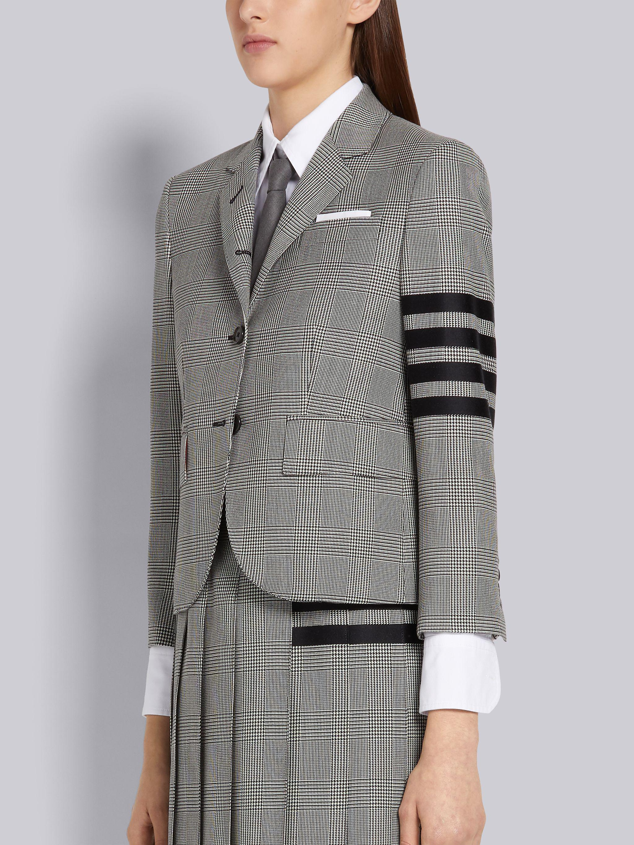 Black and White Wool Houndstooth High Armhole 4-Bar Jacket 1