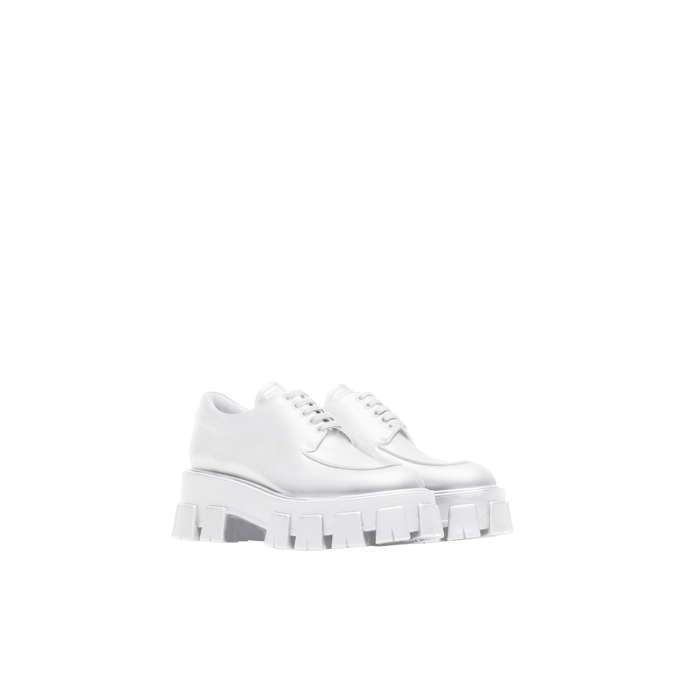 Monolith Brushed Leather Lace-up Shoes Women White