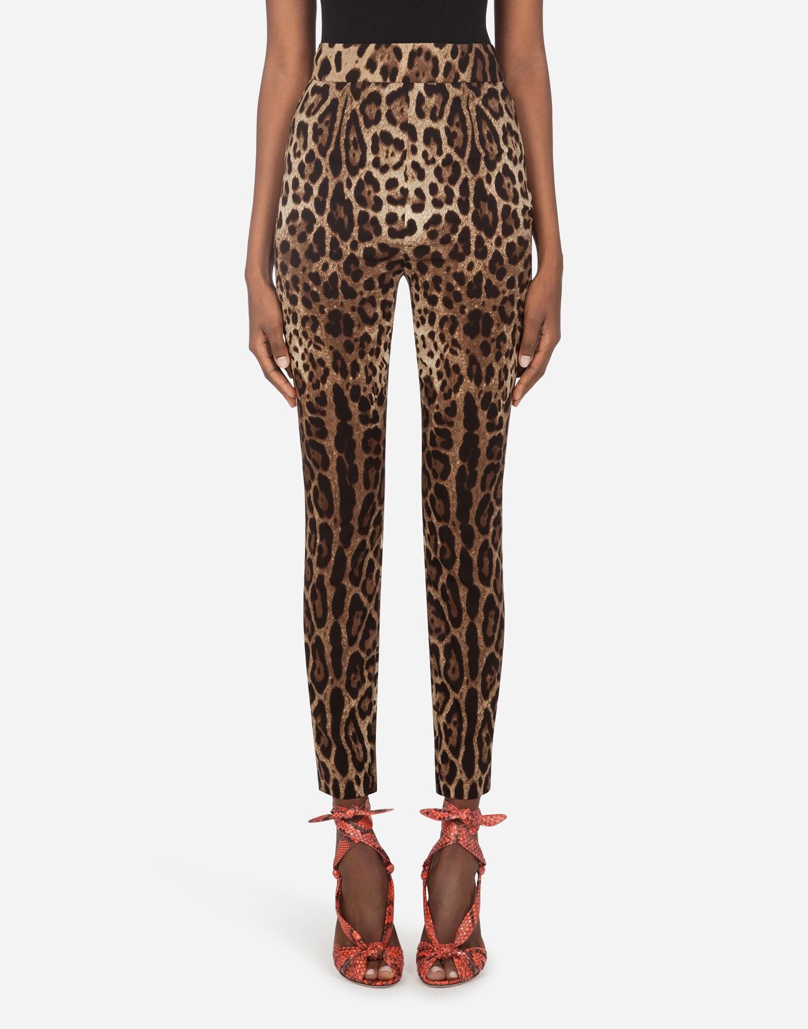 Leggings in charmeuse with leopard print