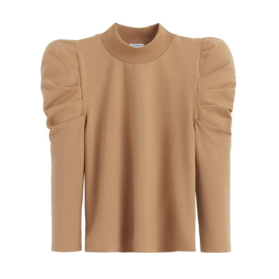 Women's French Terry Puff Sleeve Sweatshirt in Camel | Size: