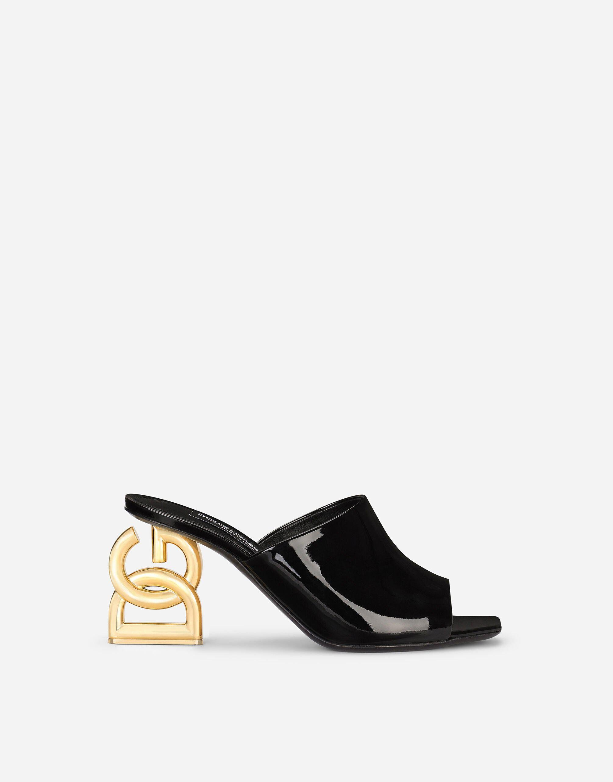 Patent leather mules with DG Pop heel