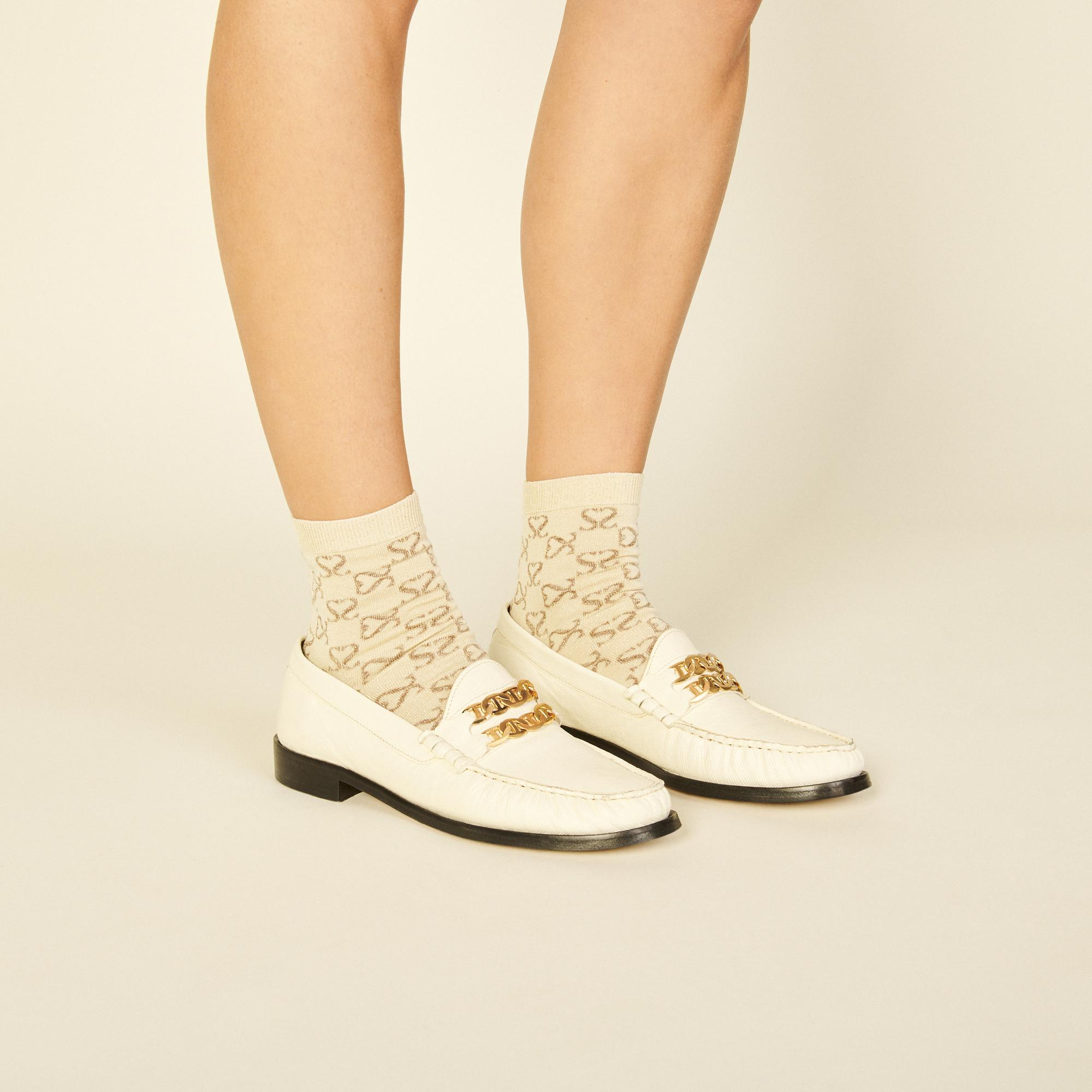 Jacquard socks with double S in lurex