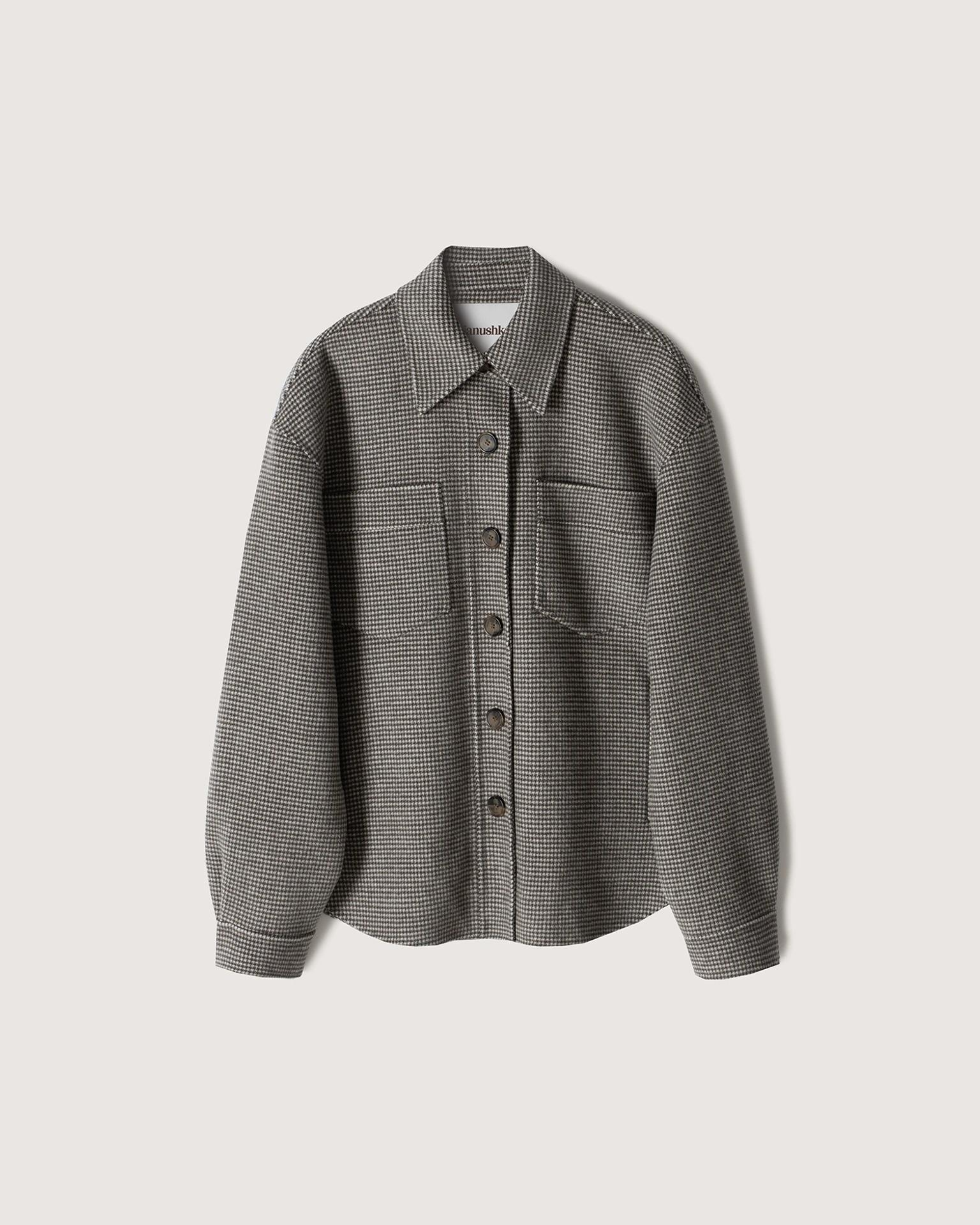 PERTH - Double wool jacket - Green houndstooth 4