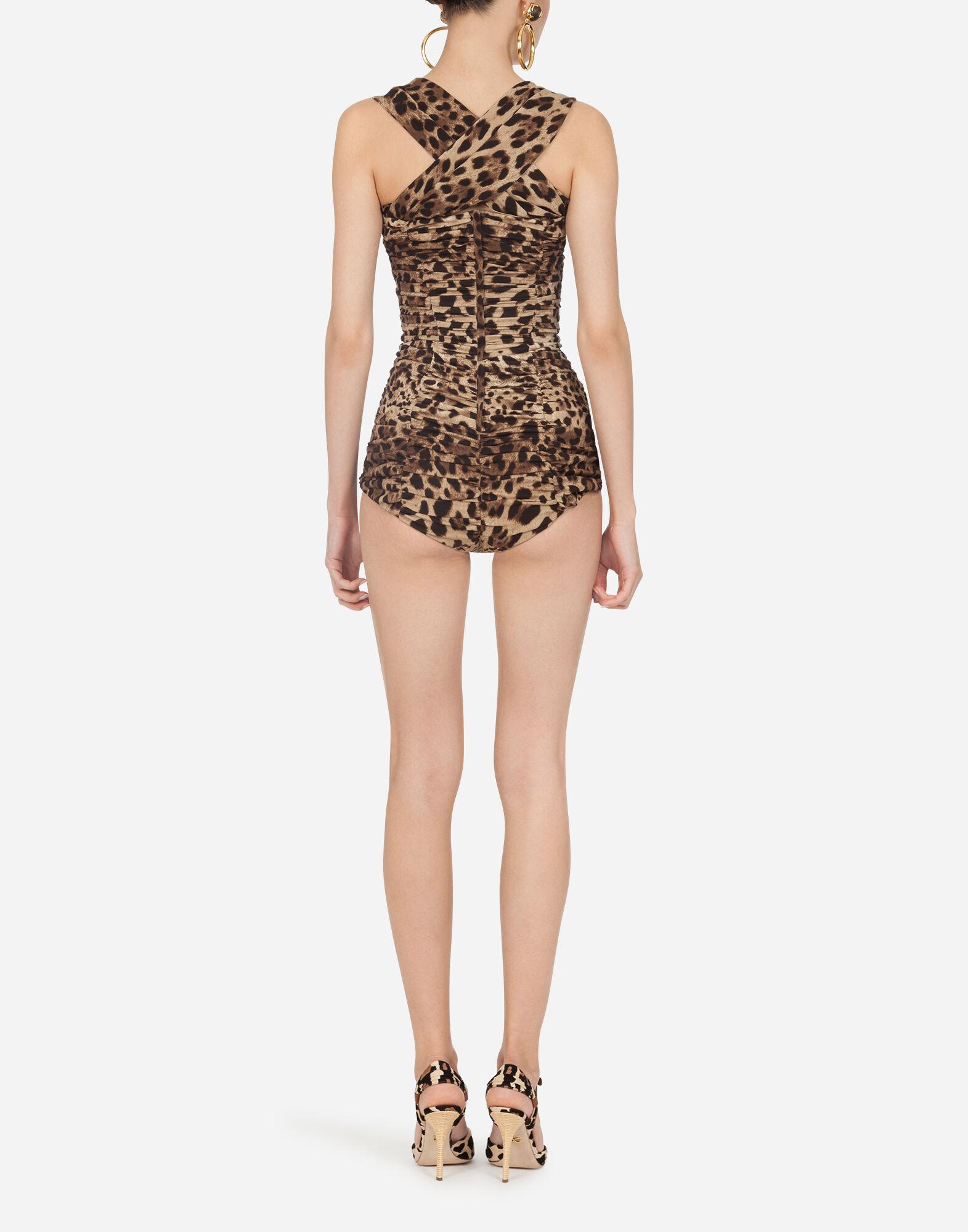 Charmeuse bodysuit with leopard print 1