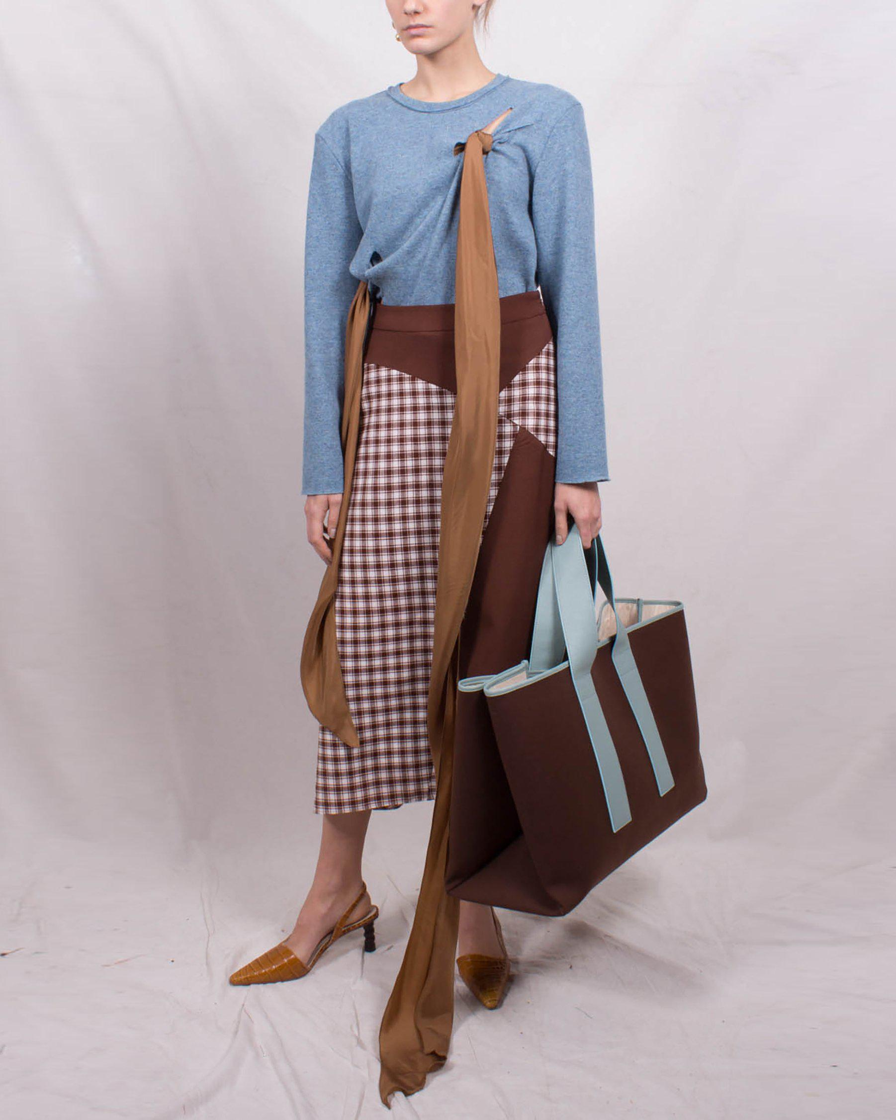Ava Skirt Wool Suiting Check Brown and Rust Brown Mix - SPECIAL PRICE