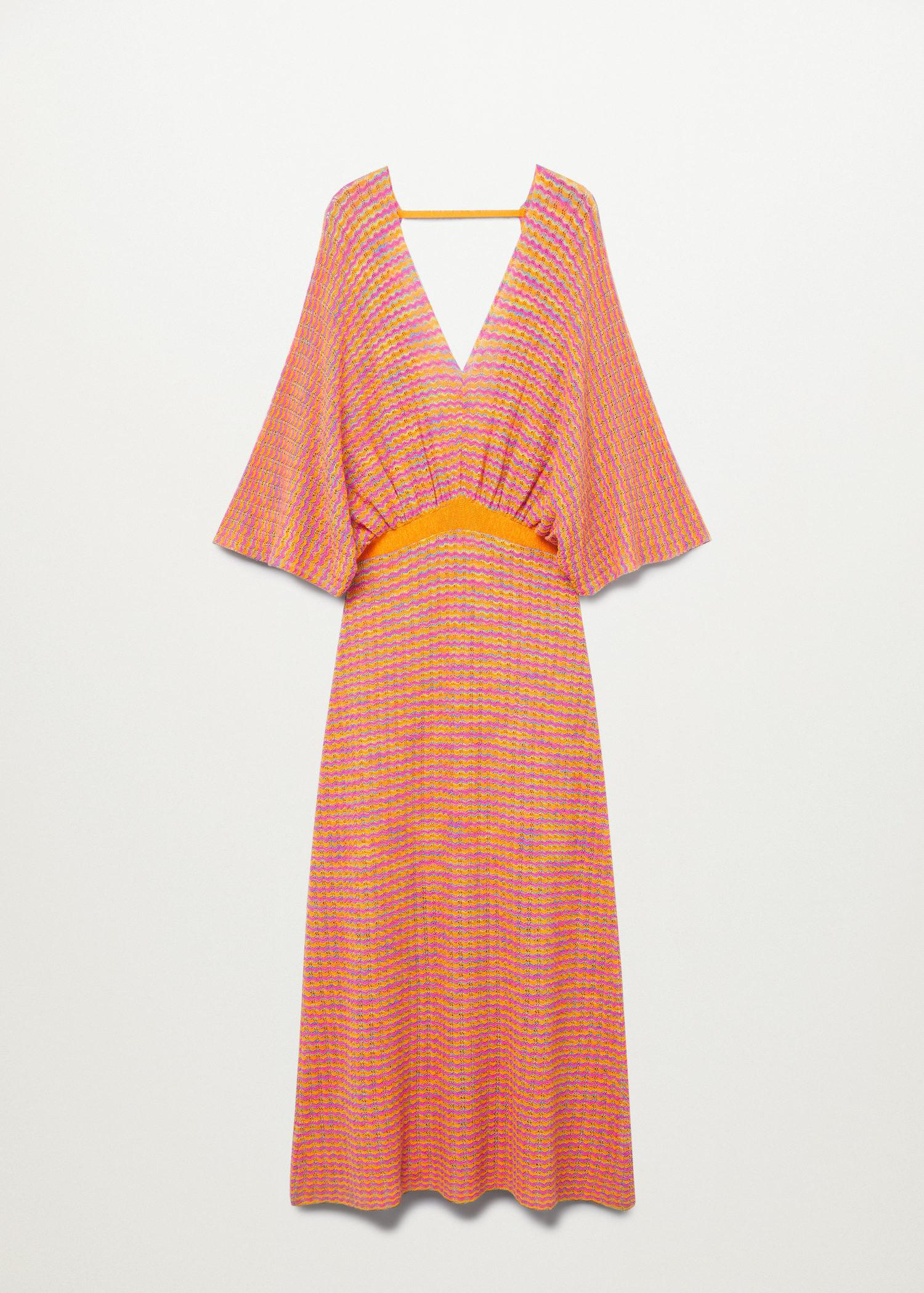 Combined knitted dress with slit 7
