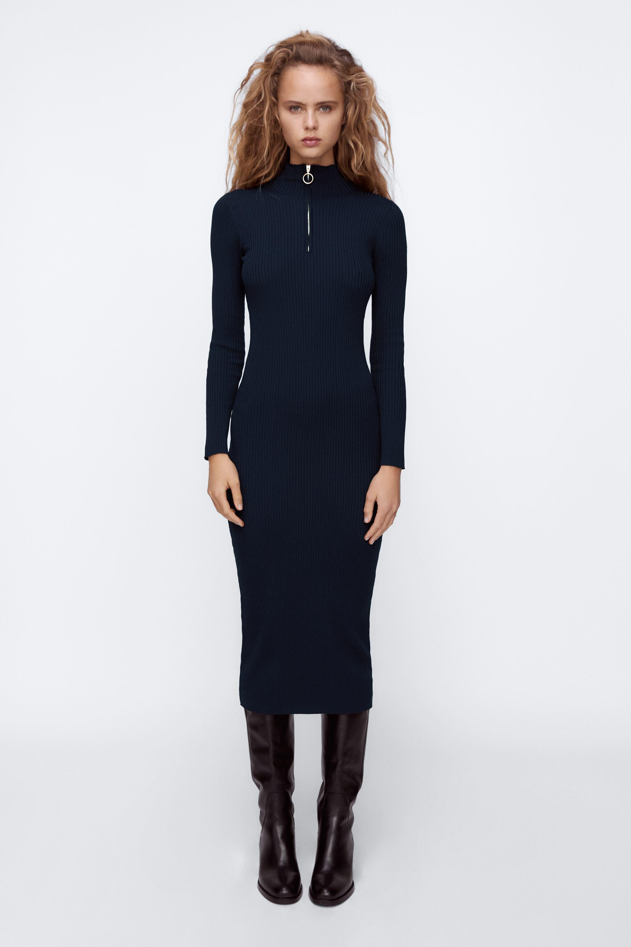 RIBBED KNIT DRESS WITH ZIPPER