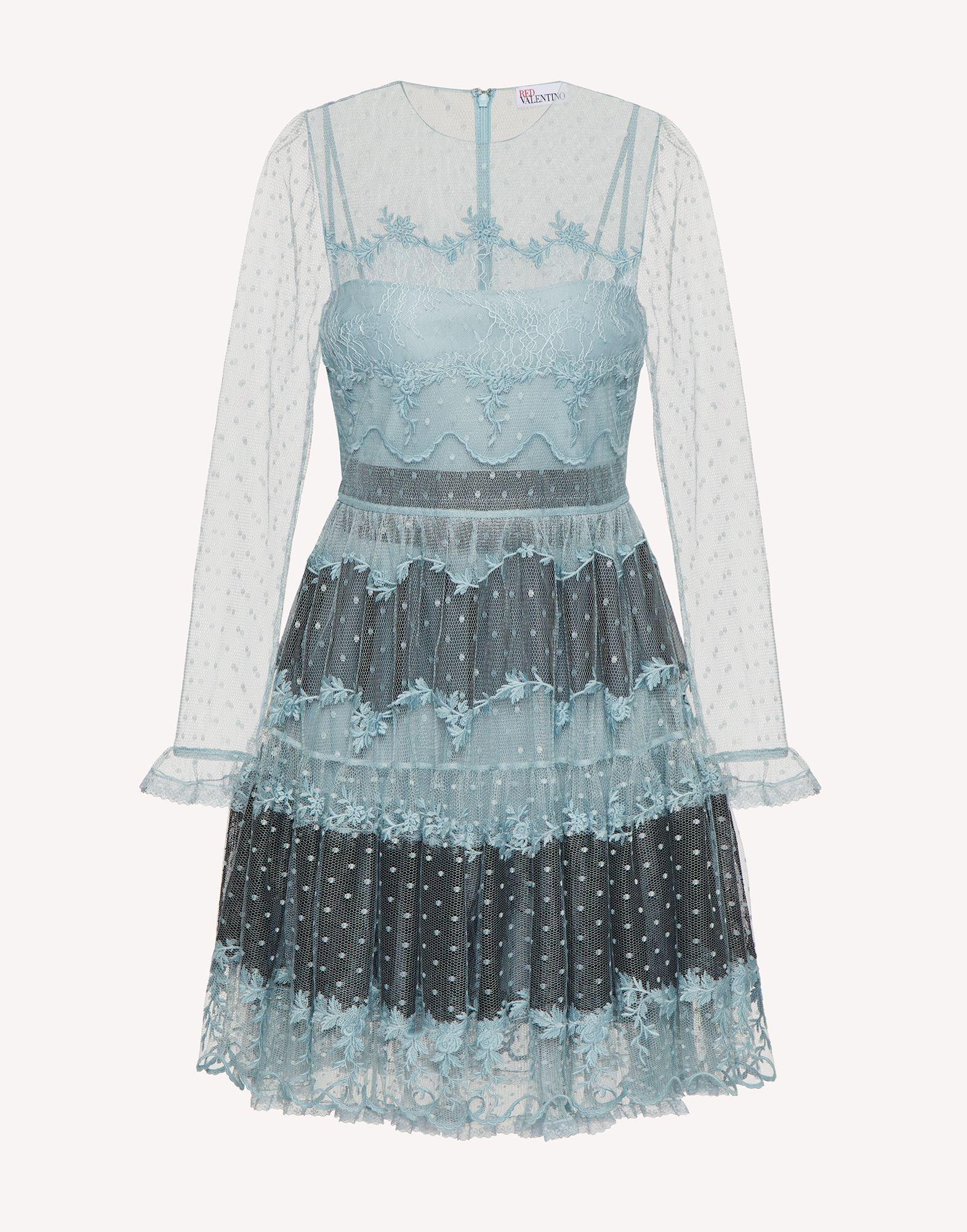 POINT D'ESPRIT TULLE DRESS WITH LACE RIBBONS 4