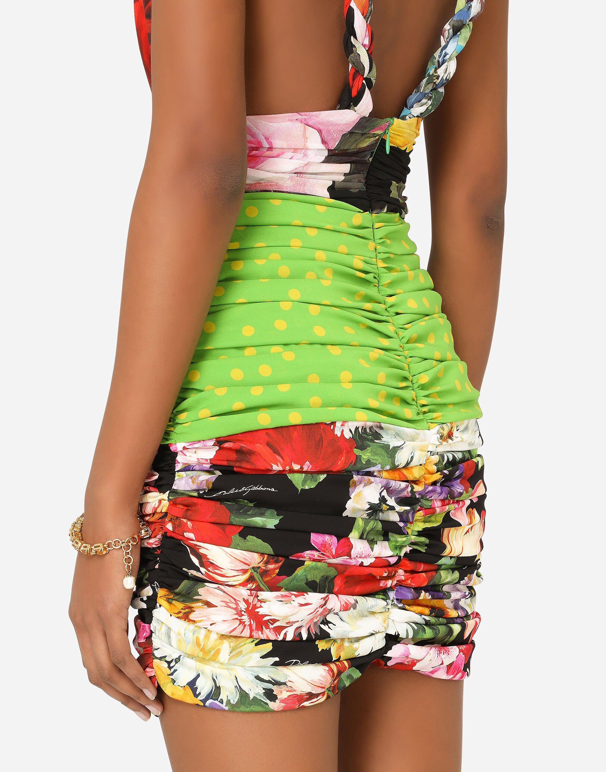 Short patchwork charmeuse and georgette dress 2