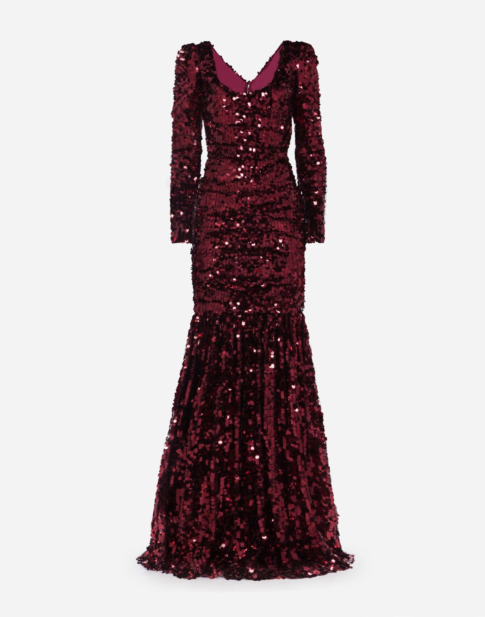 Long-sleeved dress with sequined sleeves 2