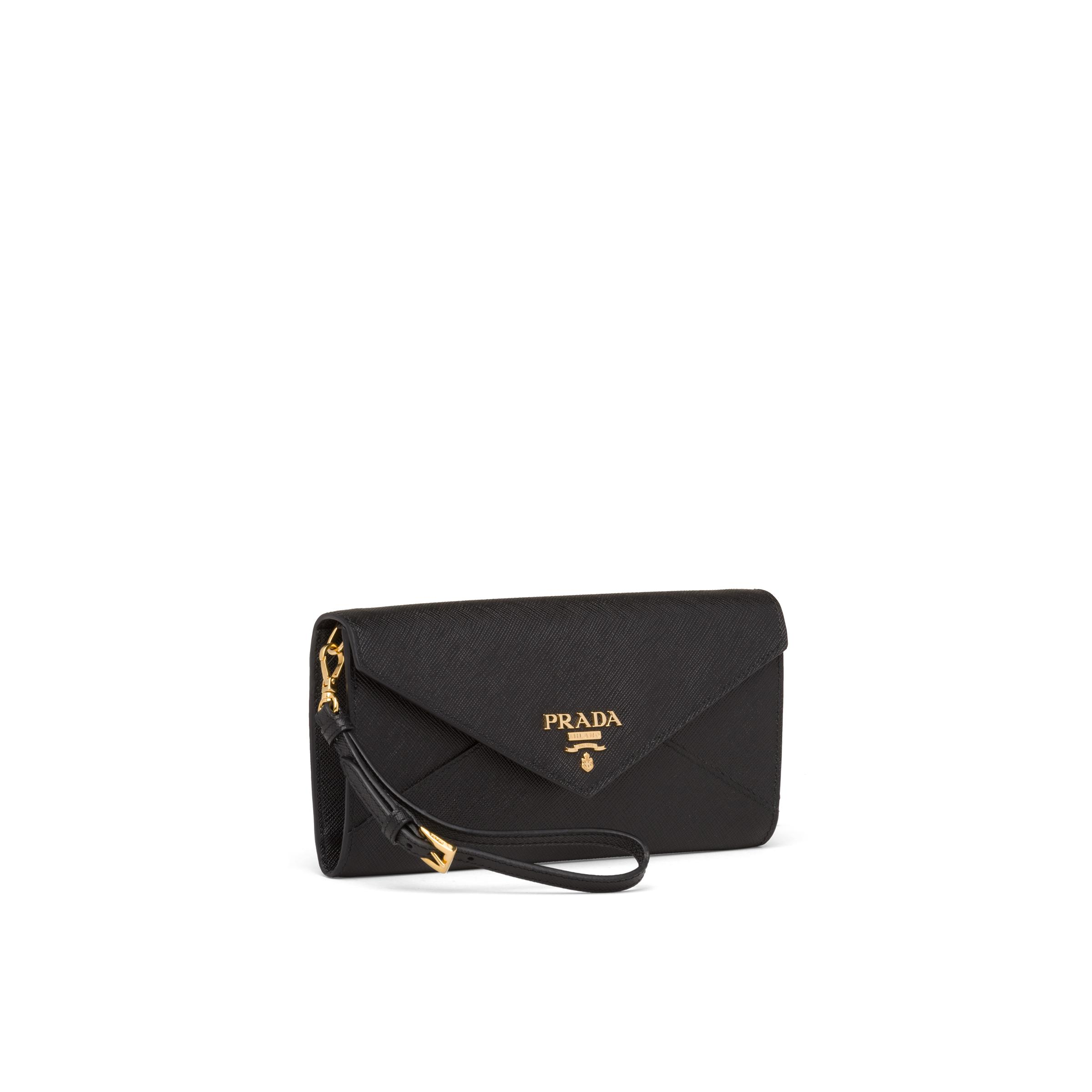 Saffiano Leather Wallet With Shoulder Strap Women Black 2