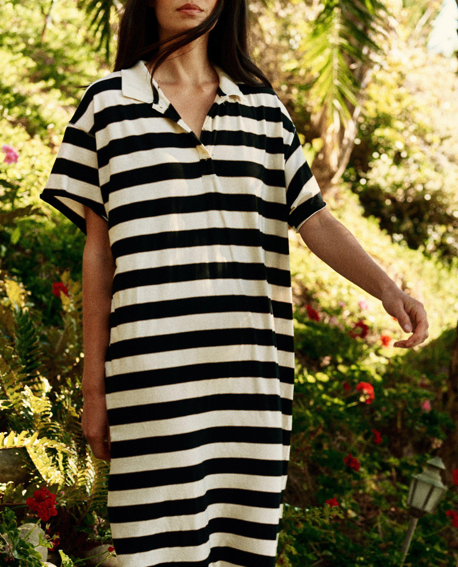 The Polo Dress. -- Black Rugby Stripe 2
