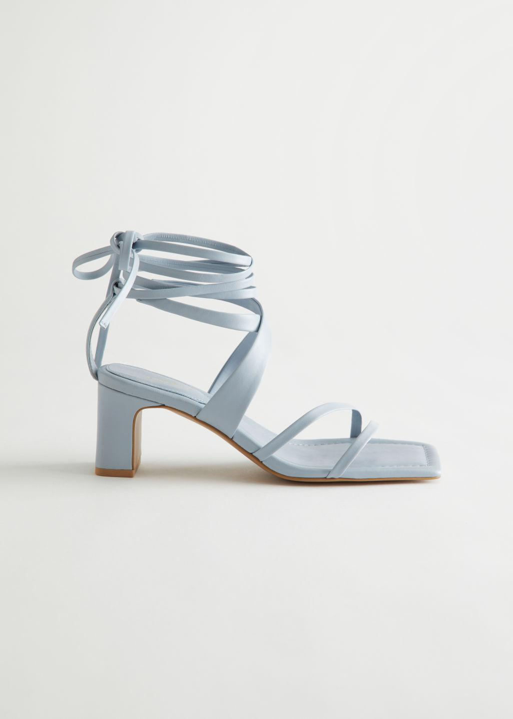 Block Heel Strappy Leather Sandals