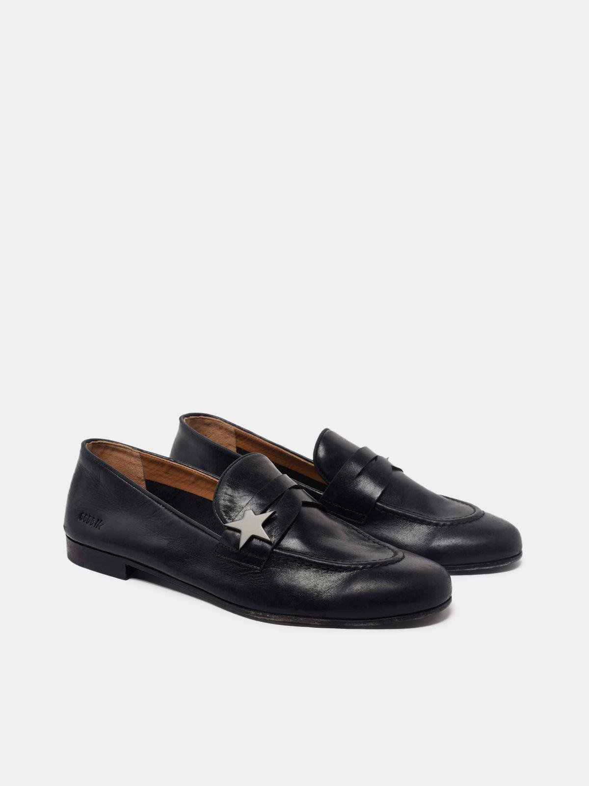 Virginia loafers in smooth black leather 2
