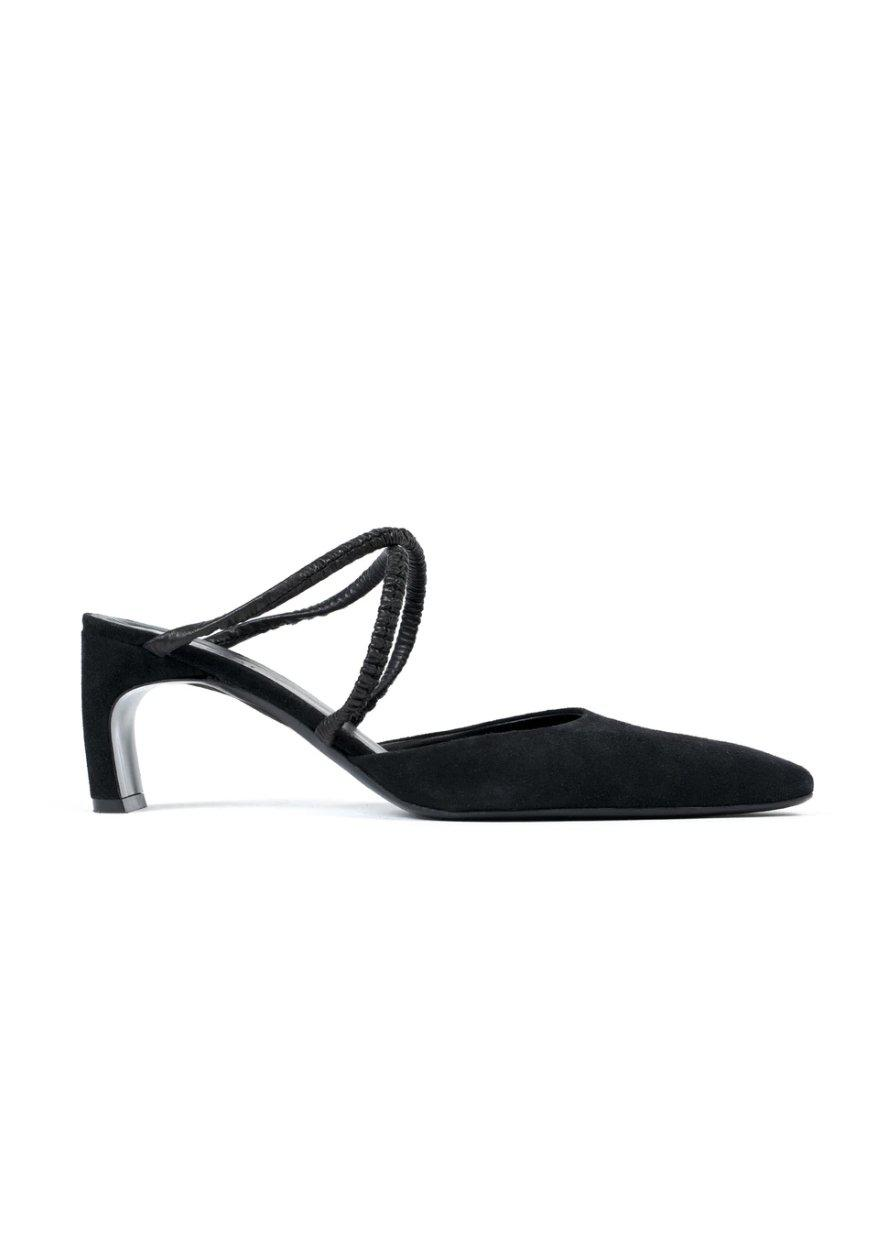 Suede Ruched Mules