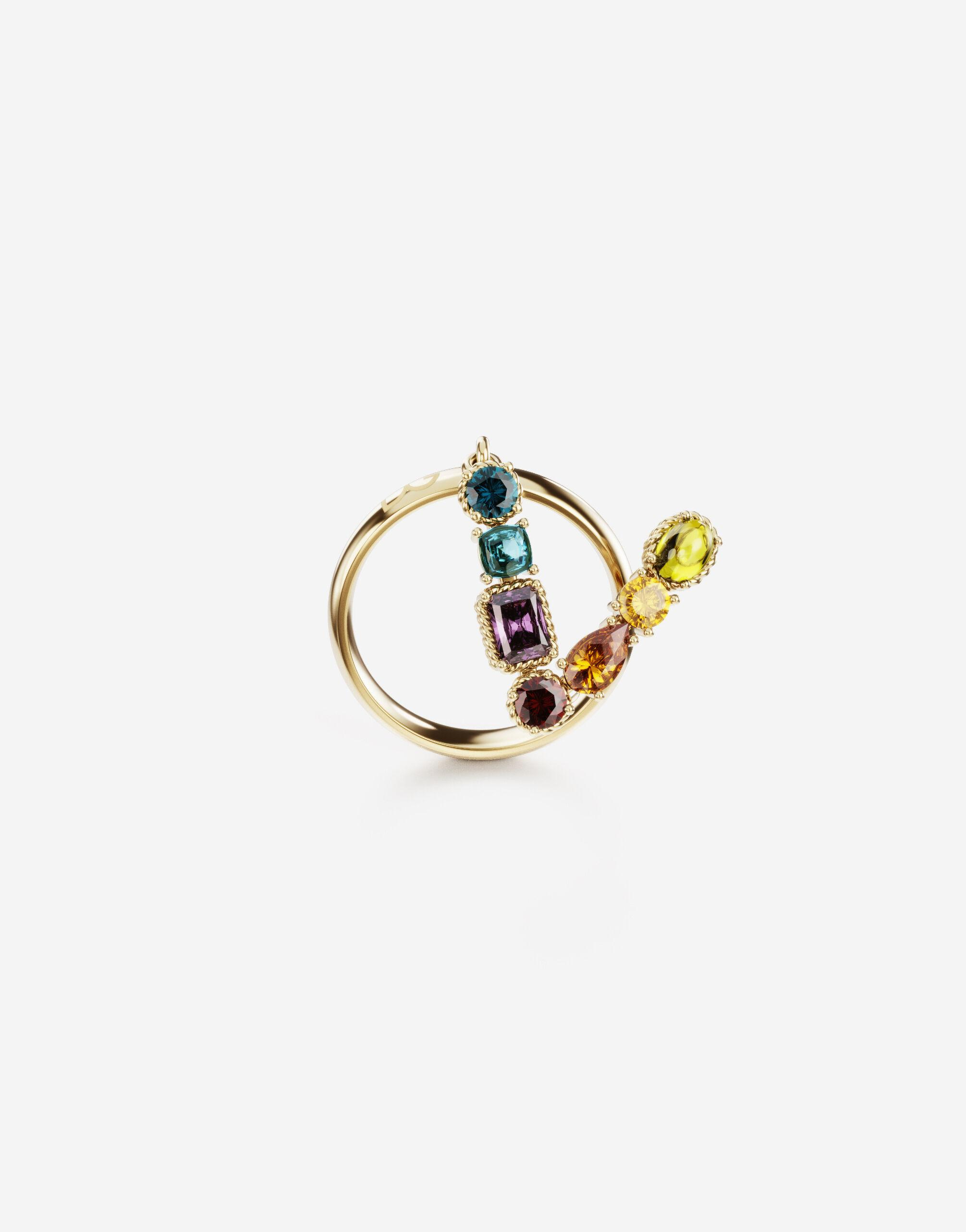 Rainbow alphabet V ring in yellow gold with multicolor fine gems